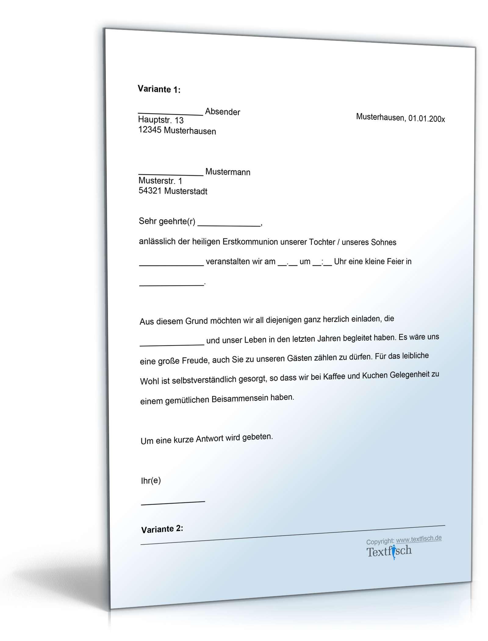 Einladung Zur Kommunion   Muster Zum Download   Vorlage Einladung Kommunion