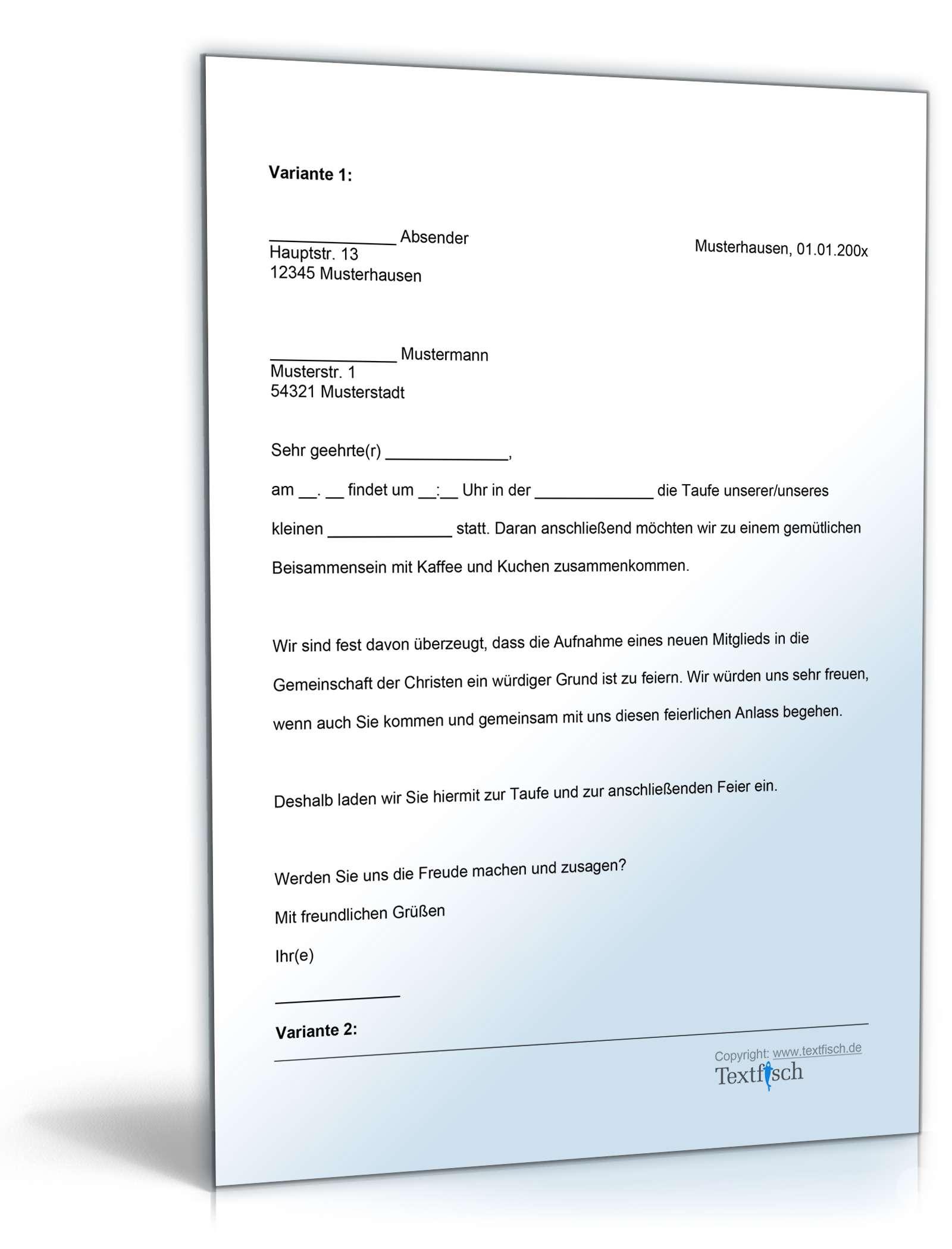 Einladung Taufe | Vorlage zum Download