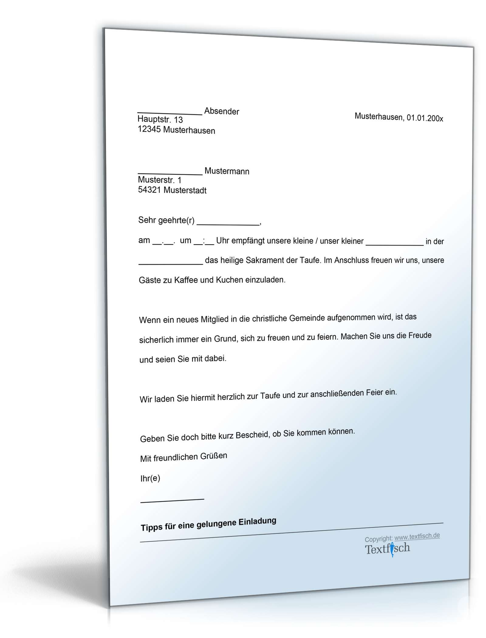 Einladung Taufe Vorlage Zum Download