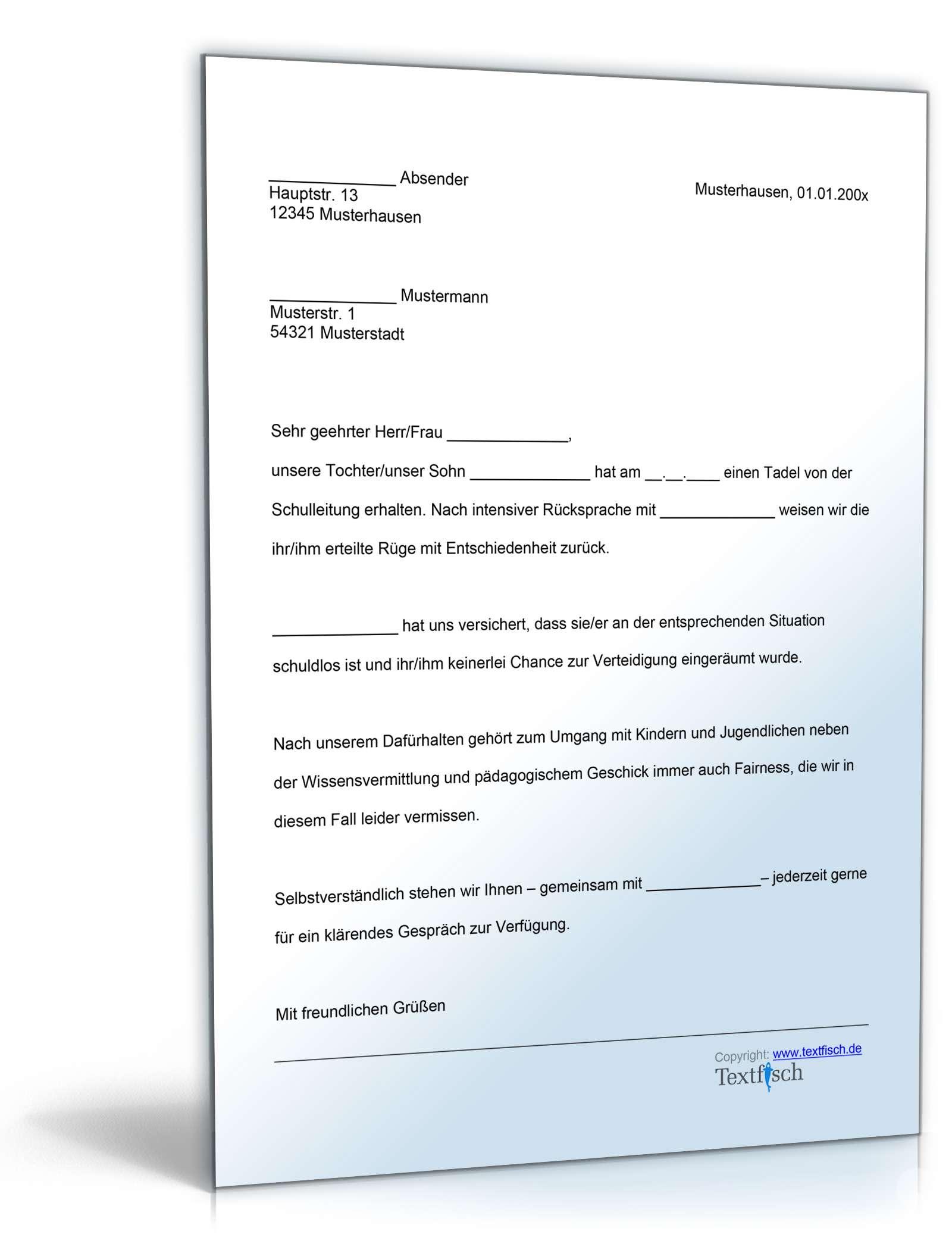 Einspruch Schulische Disziplinarmassnahme Muster Zum Download