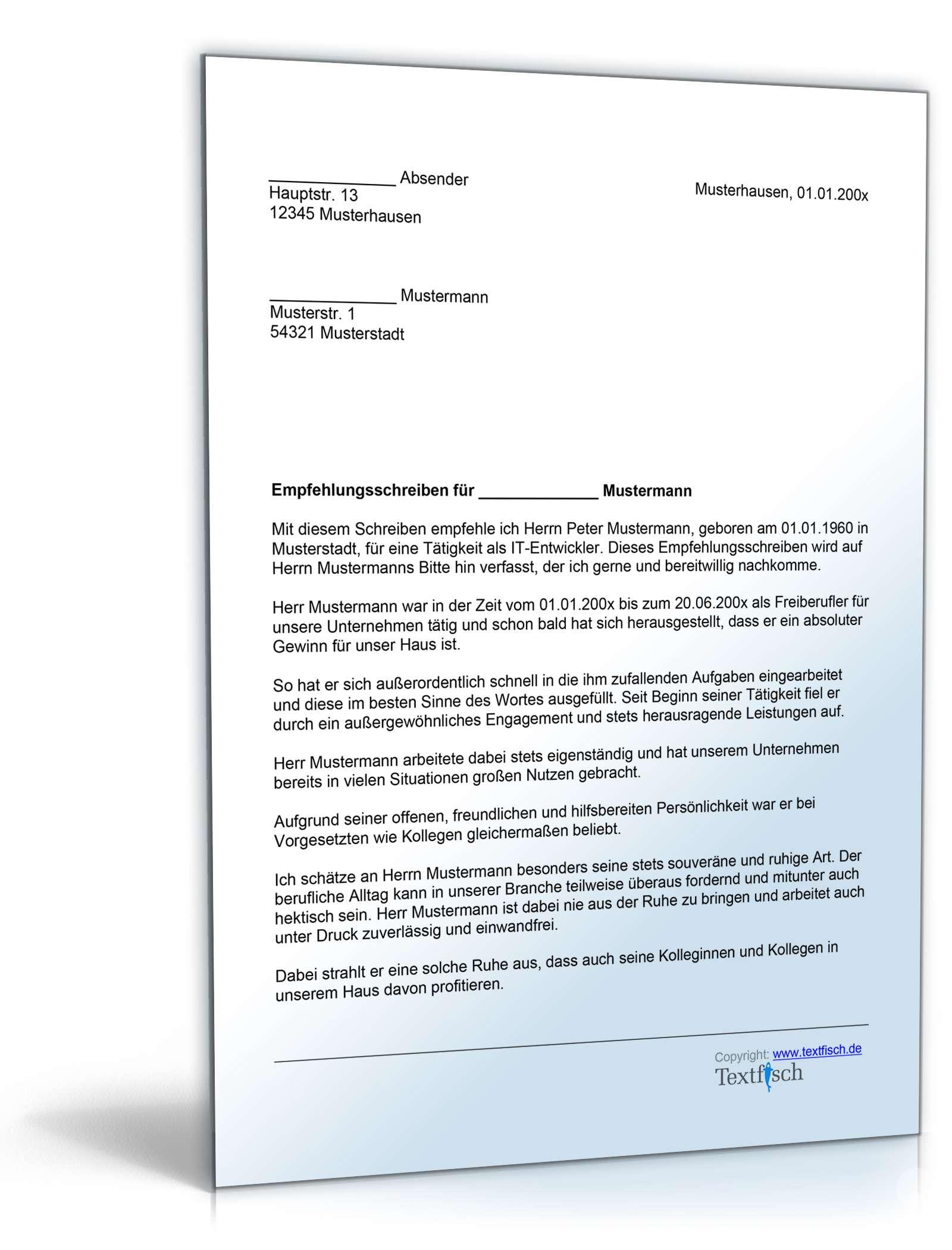 Empfehlungsschreiben Freiberufler | Vorlage zum Download