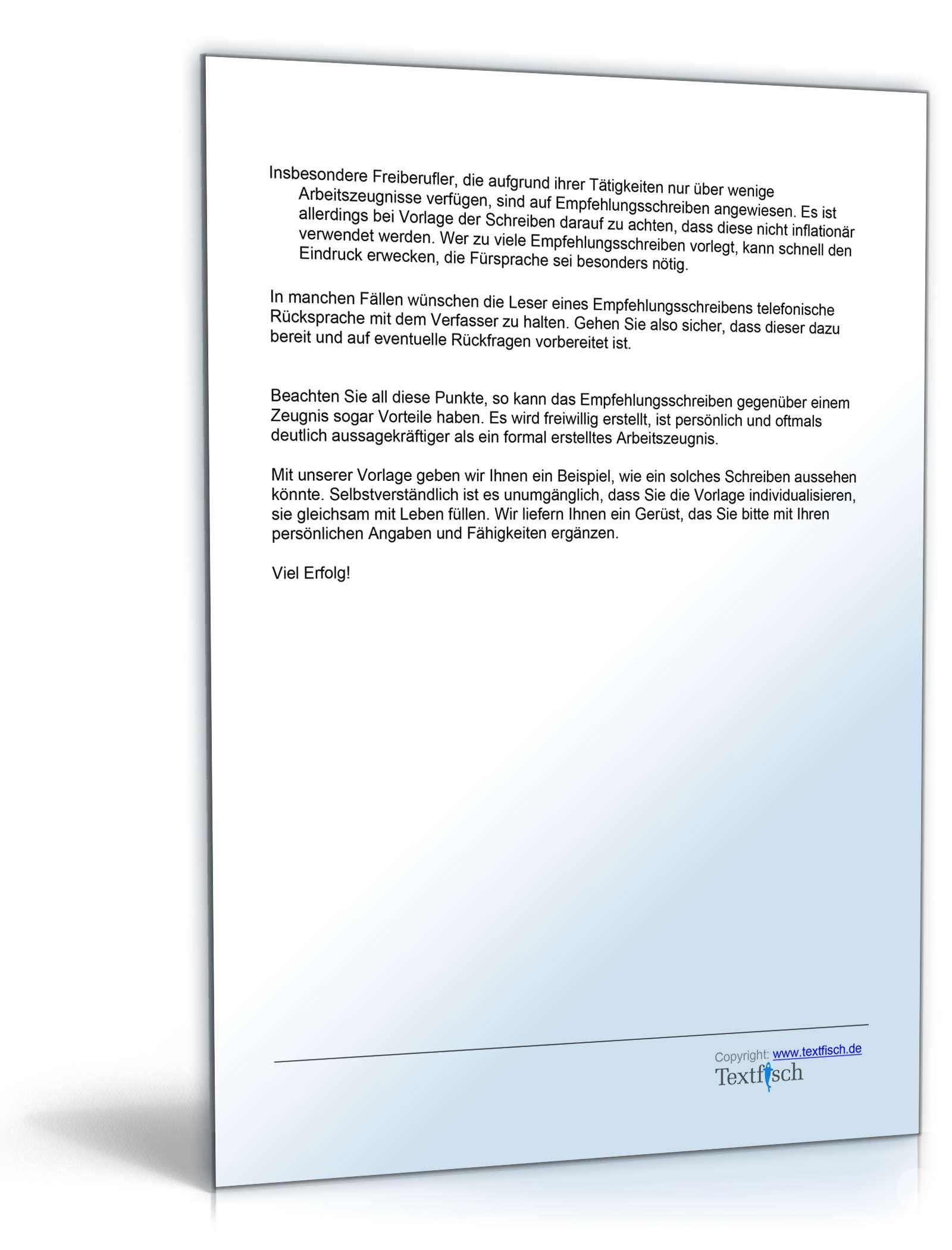 Empfehlungsschreiben Freiberufler   Vorlage zum Download