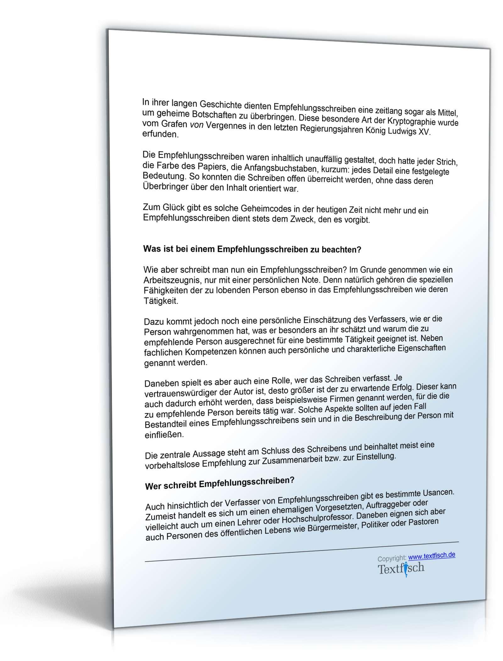 Empfehlung Mitarbeiter | Vorlage zum Download