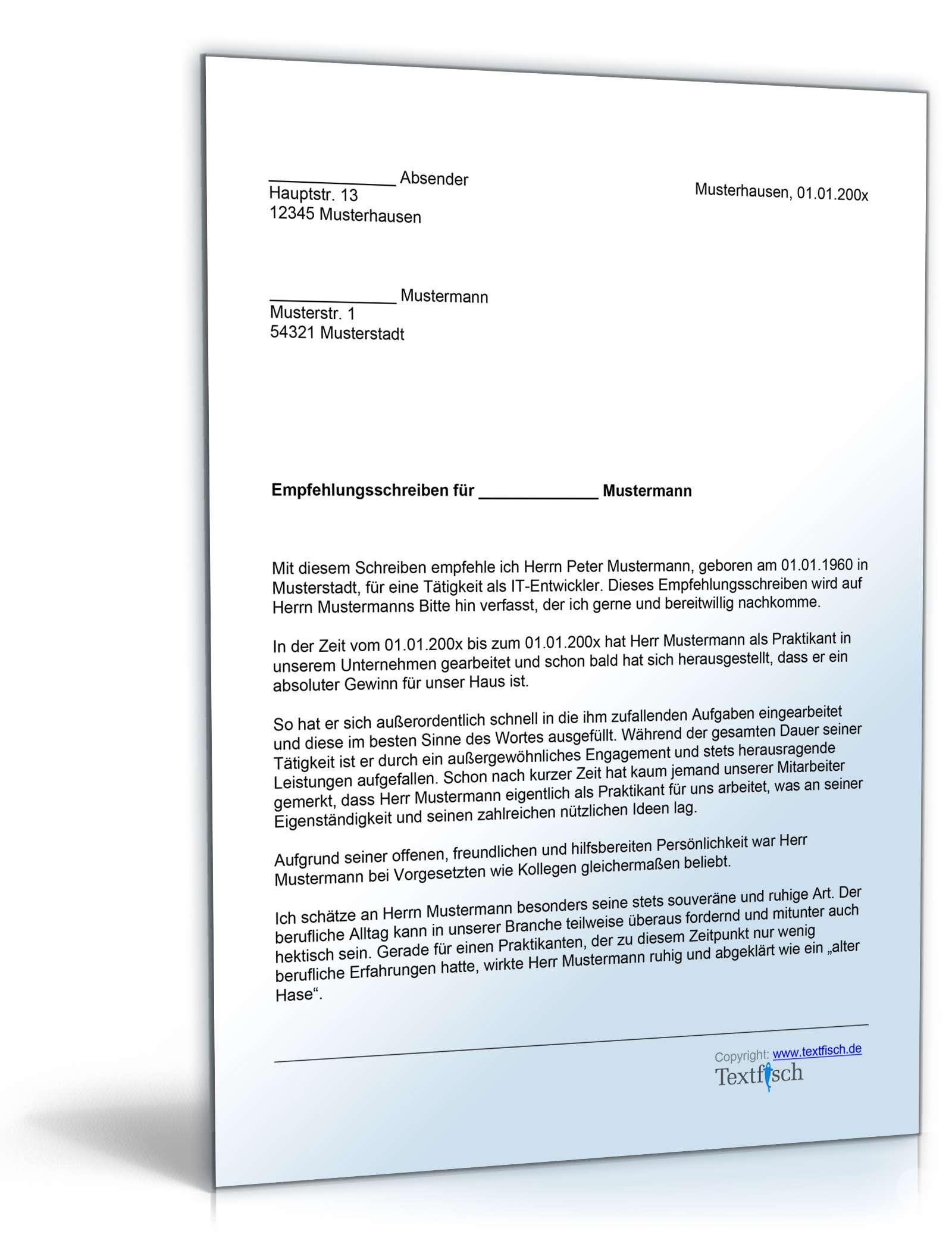 Musterbriefe Geschäftsbriefe : Empfehlung praktikant vorlage zum download