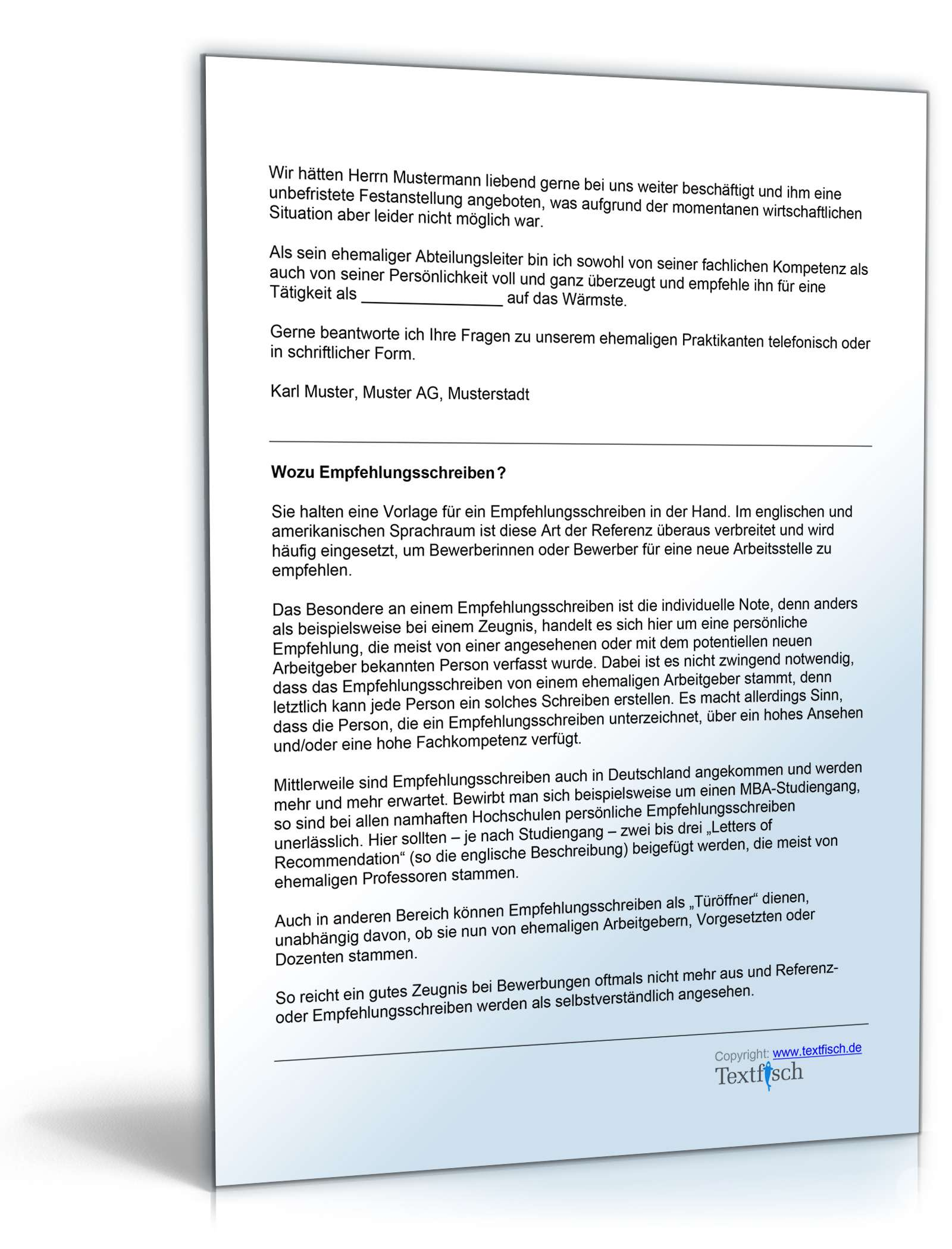 Empfehlung Praktikant Vorlage Zum Download