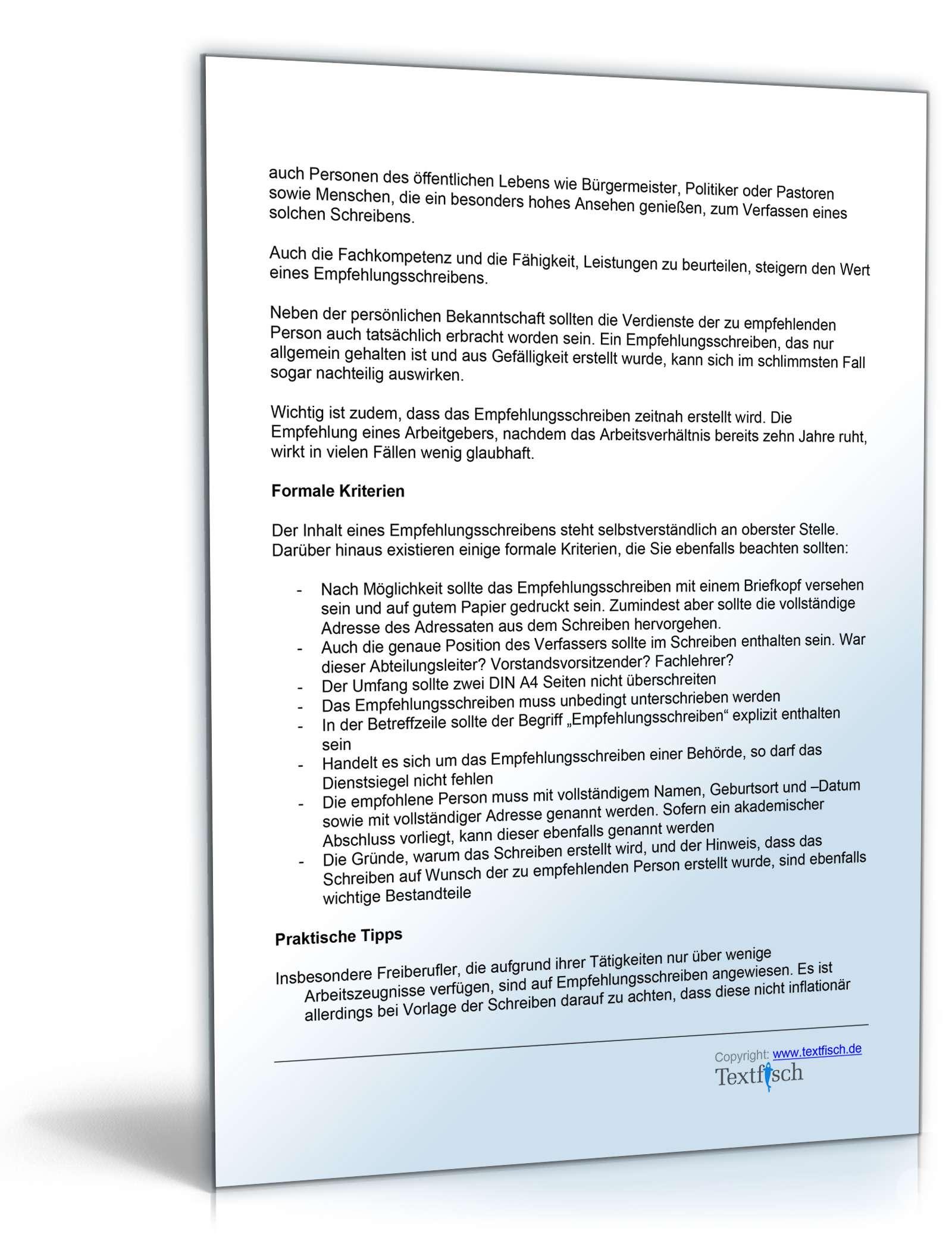 Empfehlung eines Studenten für ein Praktikum - Muster zum Download