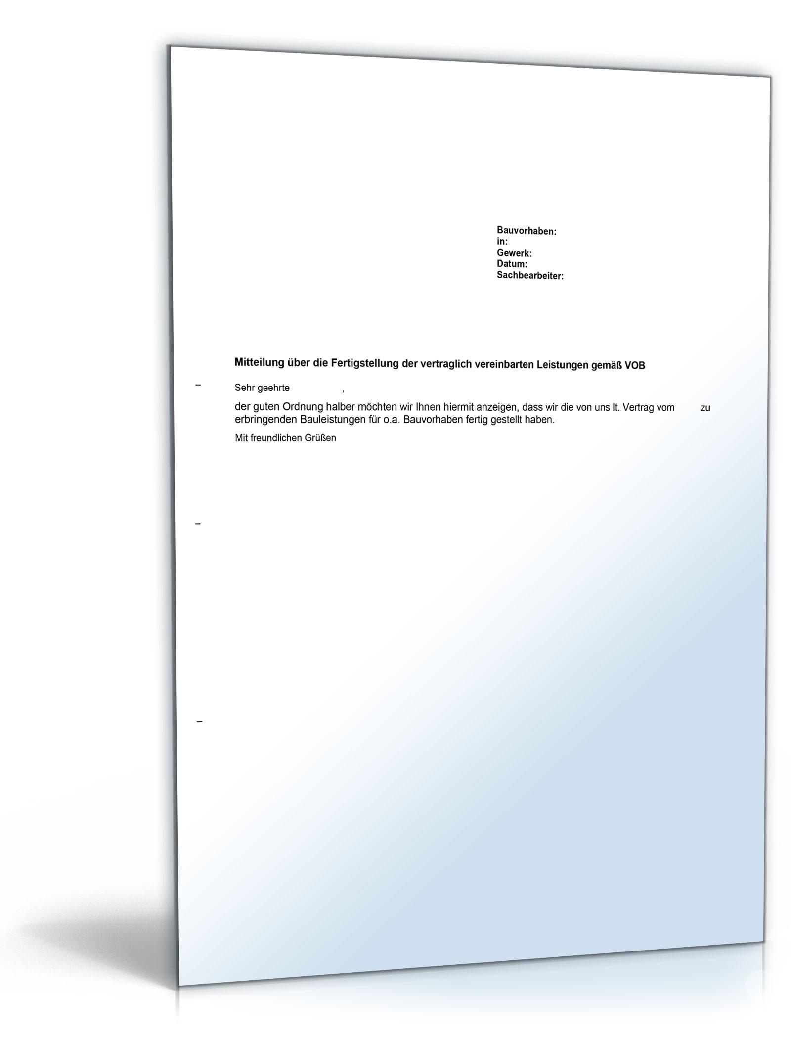 Fertigstellungsmeldung (VOB-Vertrag) – Muster zum Download
