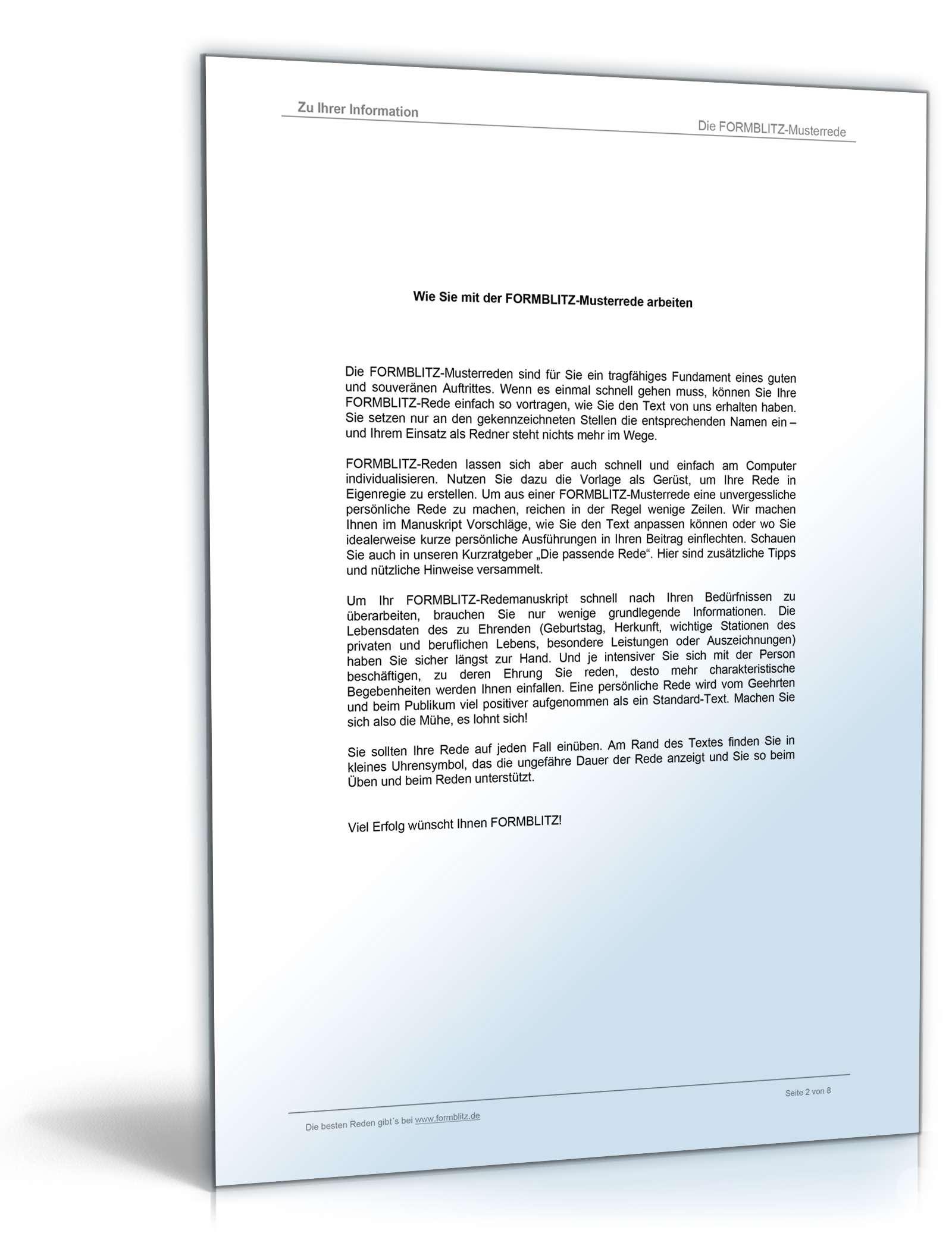 Muster-Rede zum 50. Geburtstag Dokument zum Download