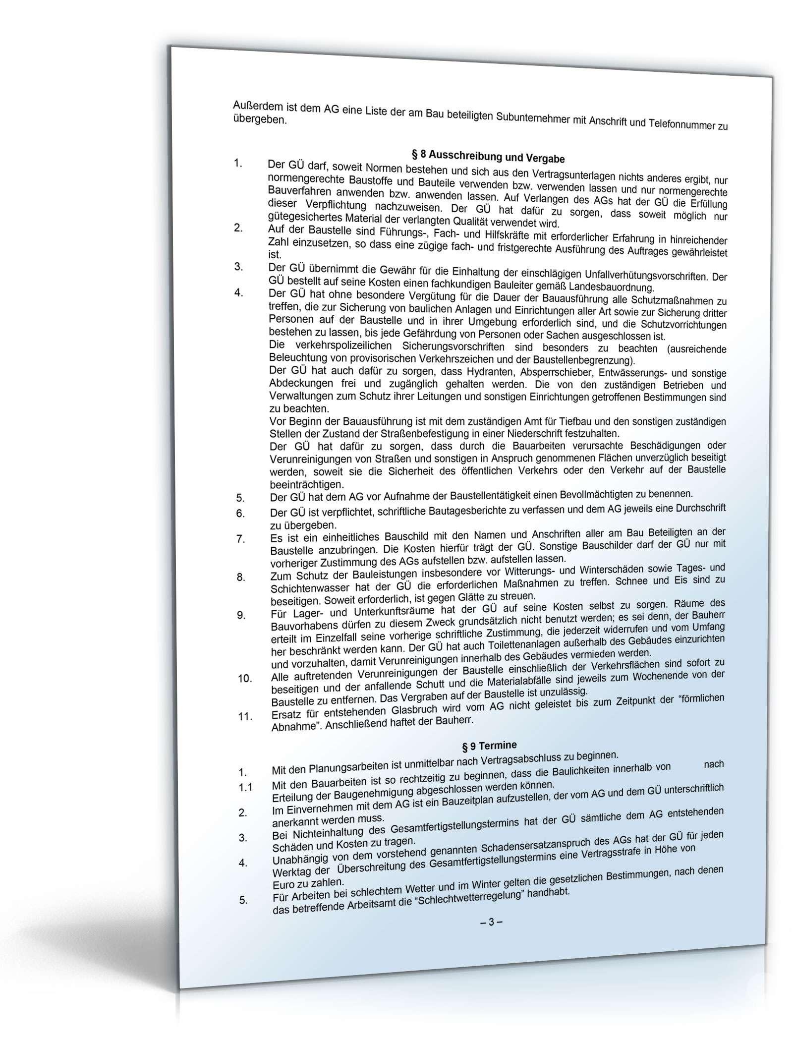 Generalübernehmervertrag Vob Muster Zum Download