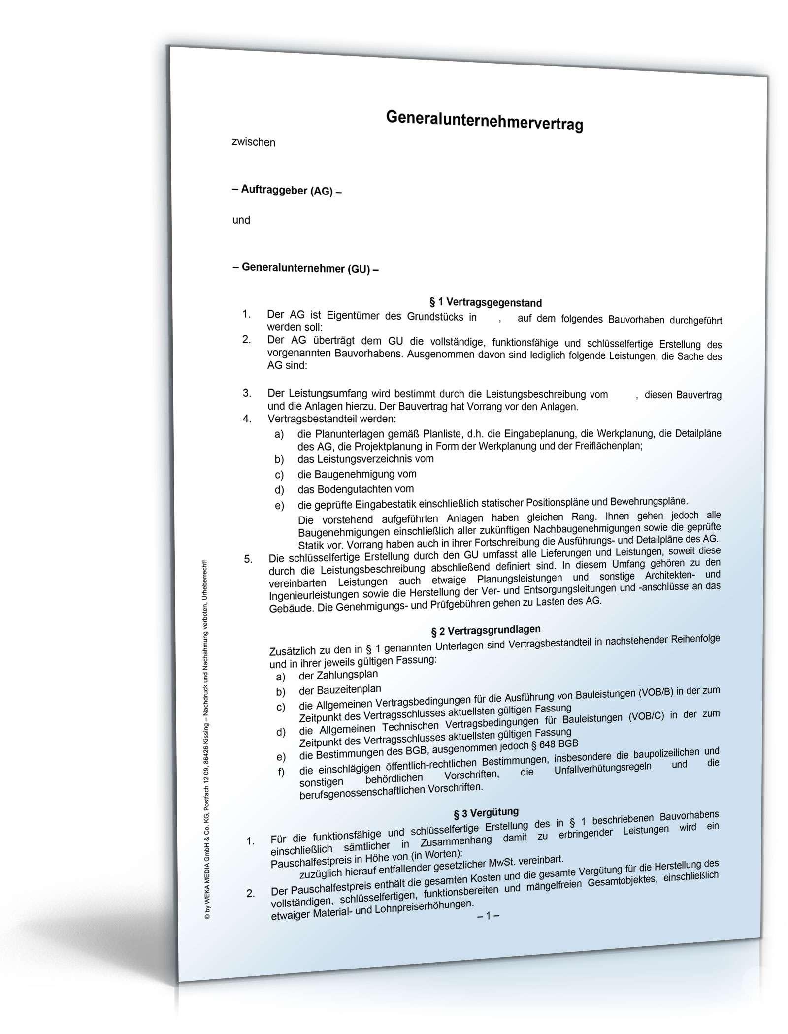 Generalunternehmervertrag Rechtssicheres Muster Zum Download