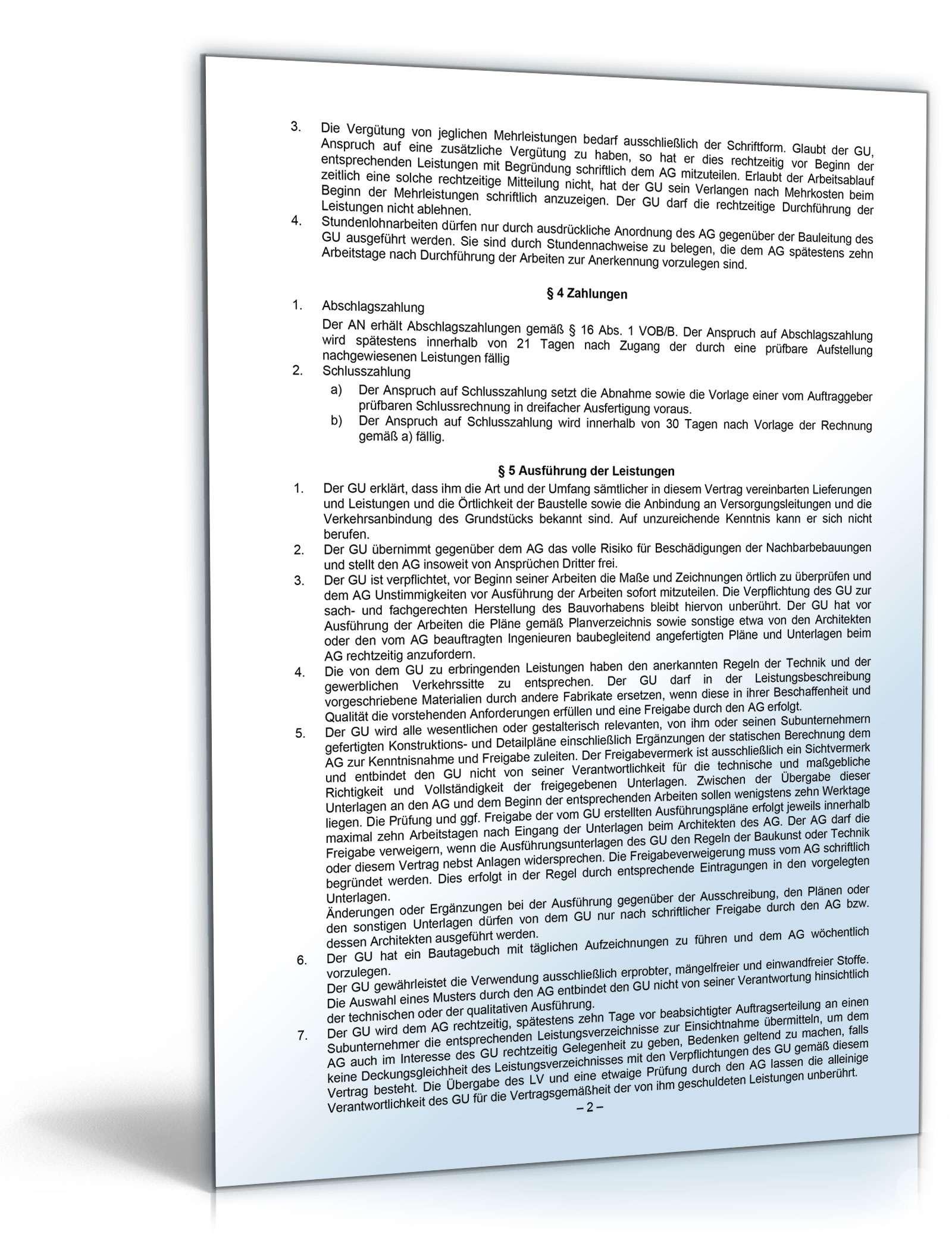 Generalunternehmervertrag: Rechtssicheres Muster zum Download