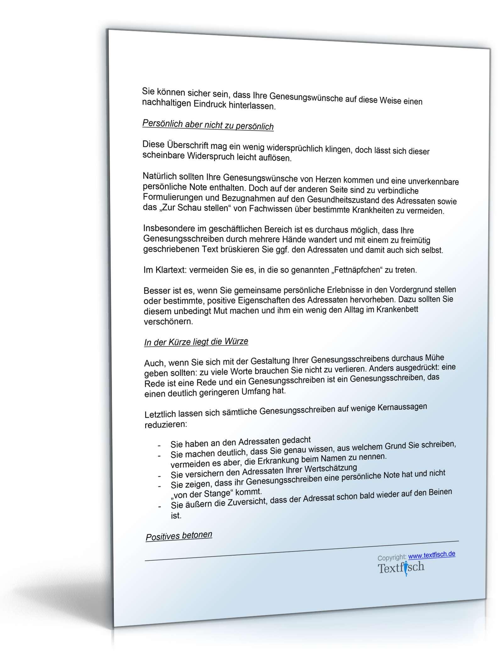 Genesungsbrief Privat - Musterbrief als DOC zum Download