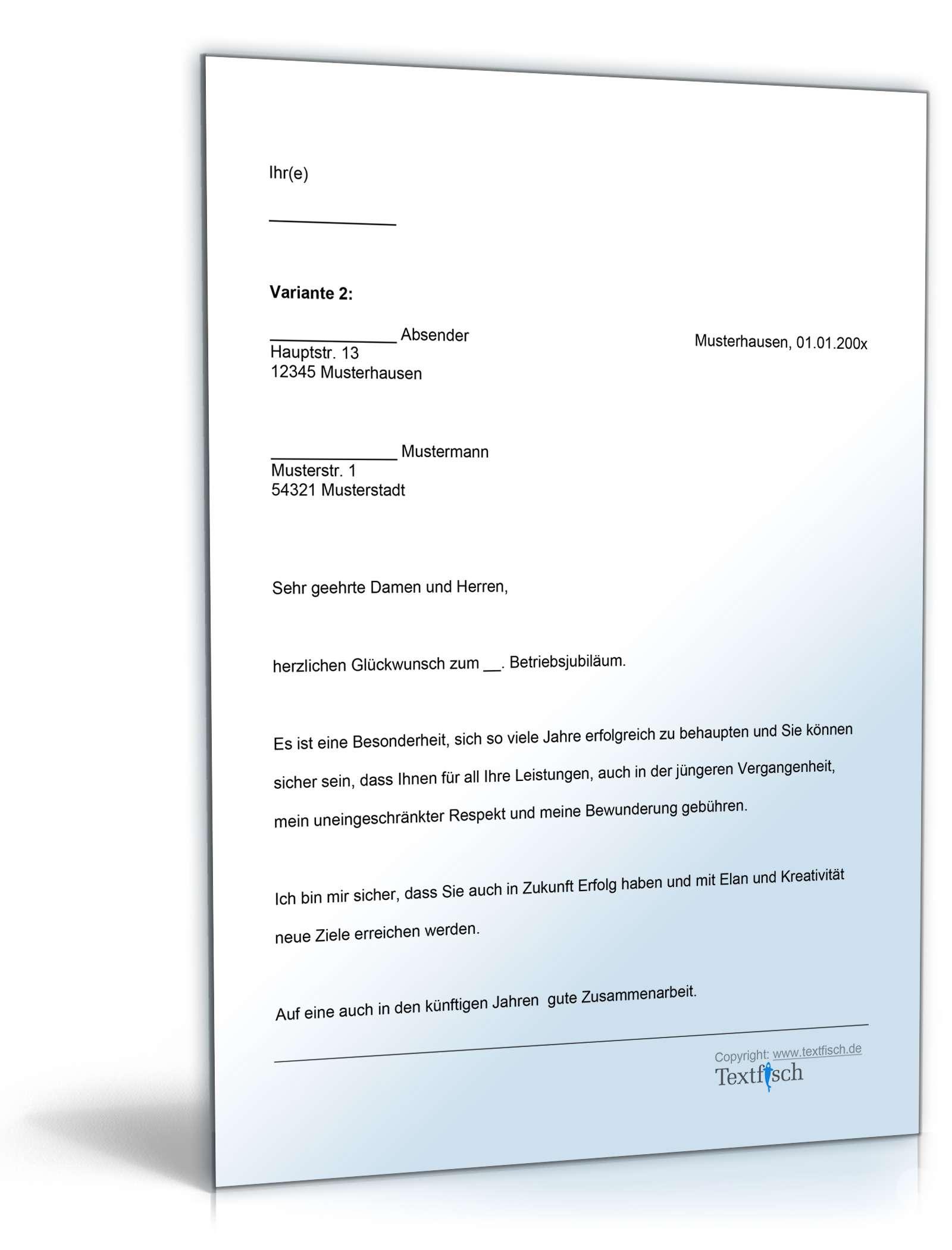 Musterbriefe Kostenlos Geschäftsbriefe : Gratulation firmenjubiläum vorlage zum download