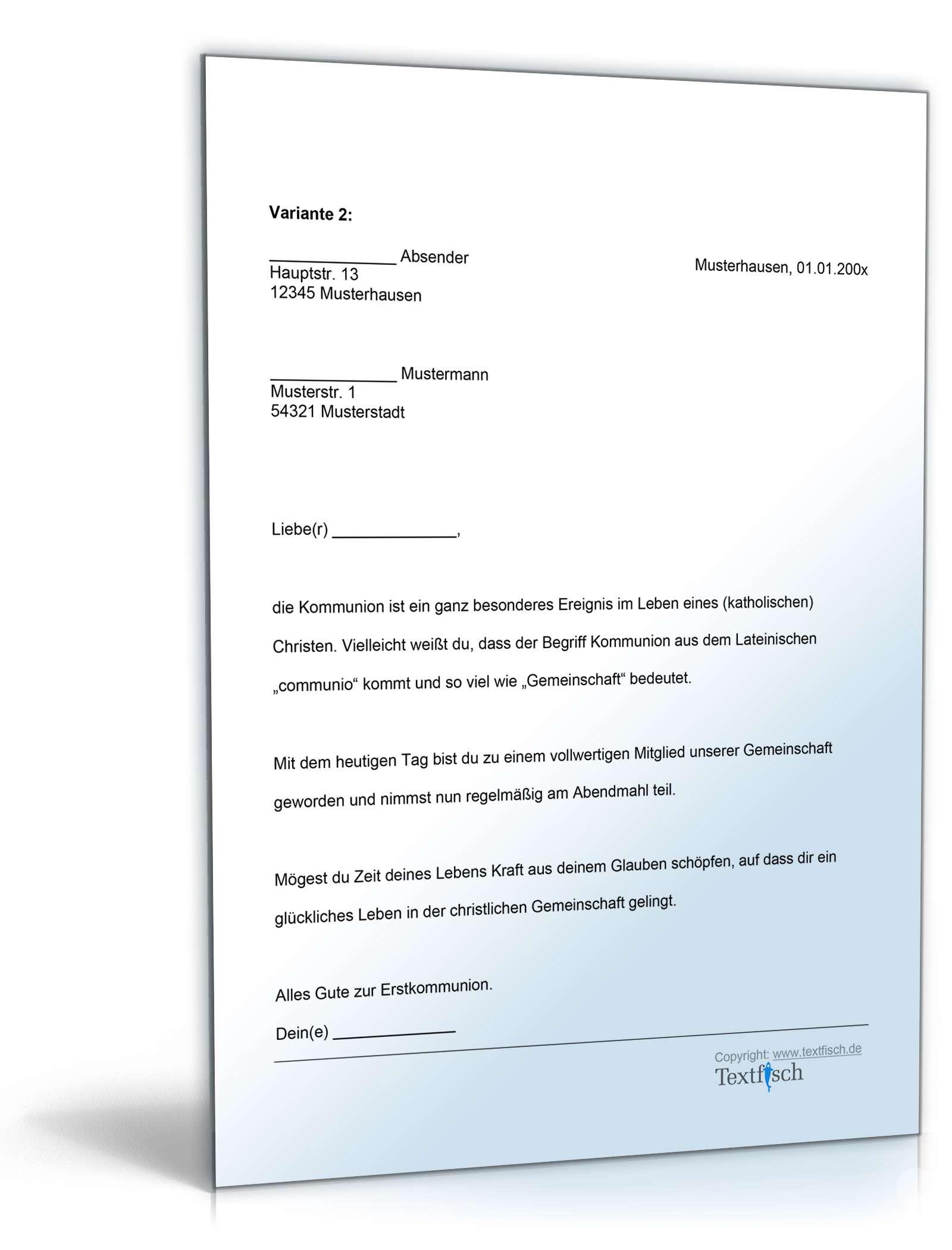 Musterbriefe Kondolenzschreiben : Gratulation kommunion vorlage zum download
