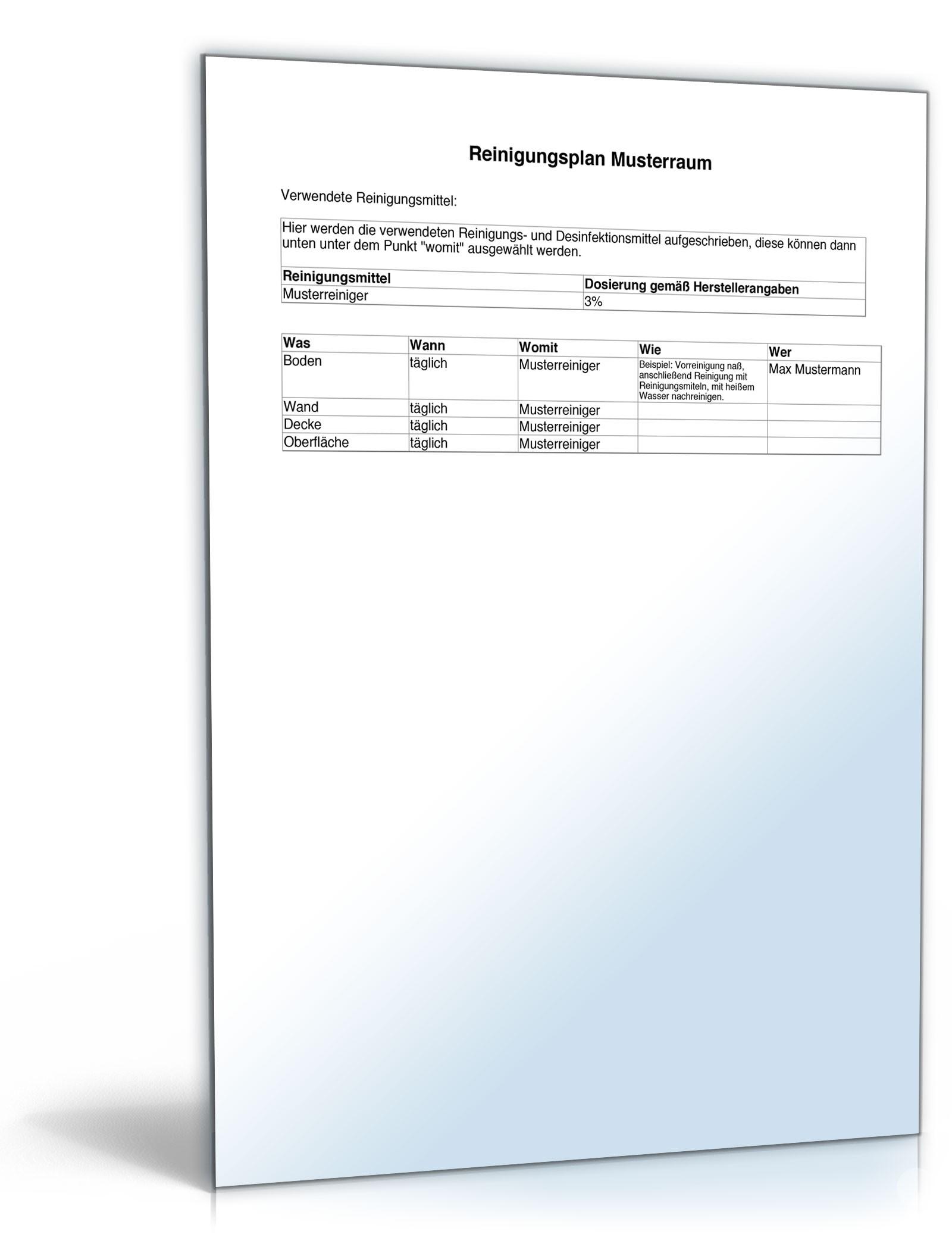 Reinigungsplan Musterraum | Vorlage zum Download