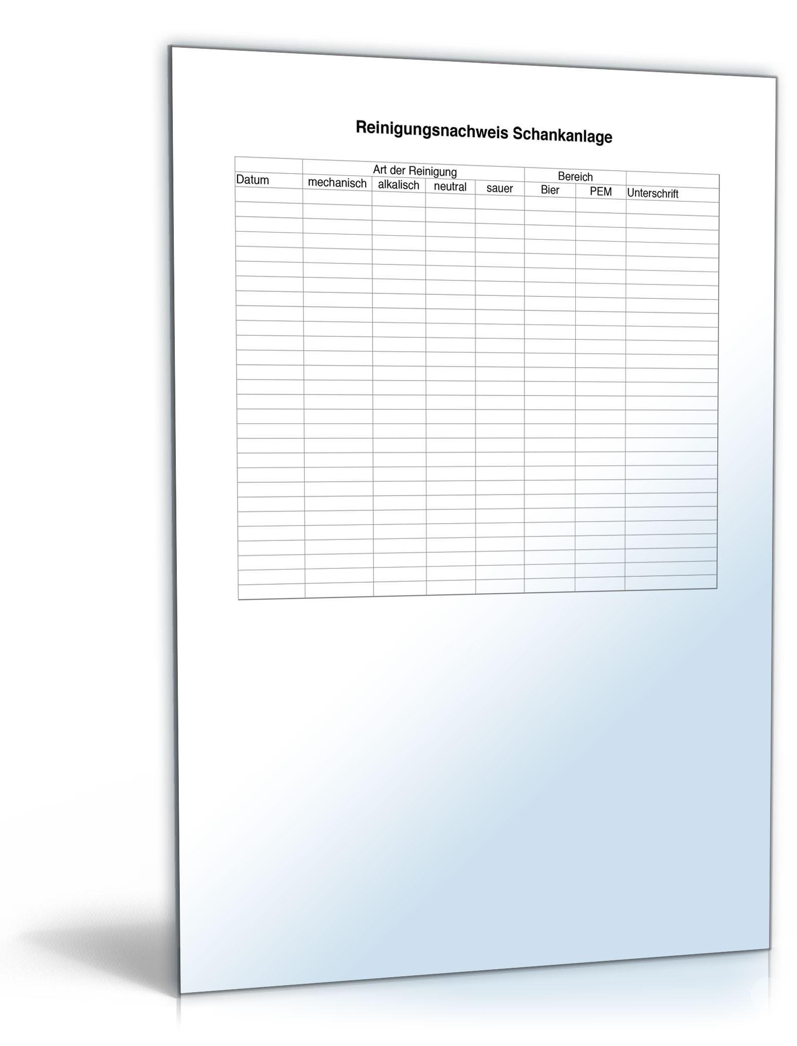 Reinigungsnachweis Schankanlage | Vorlage zum Download
