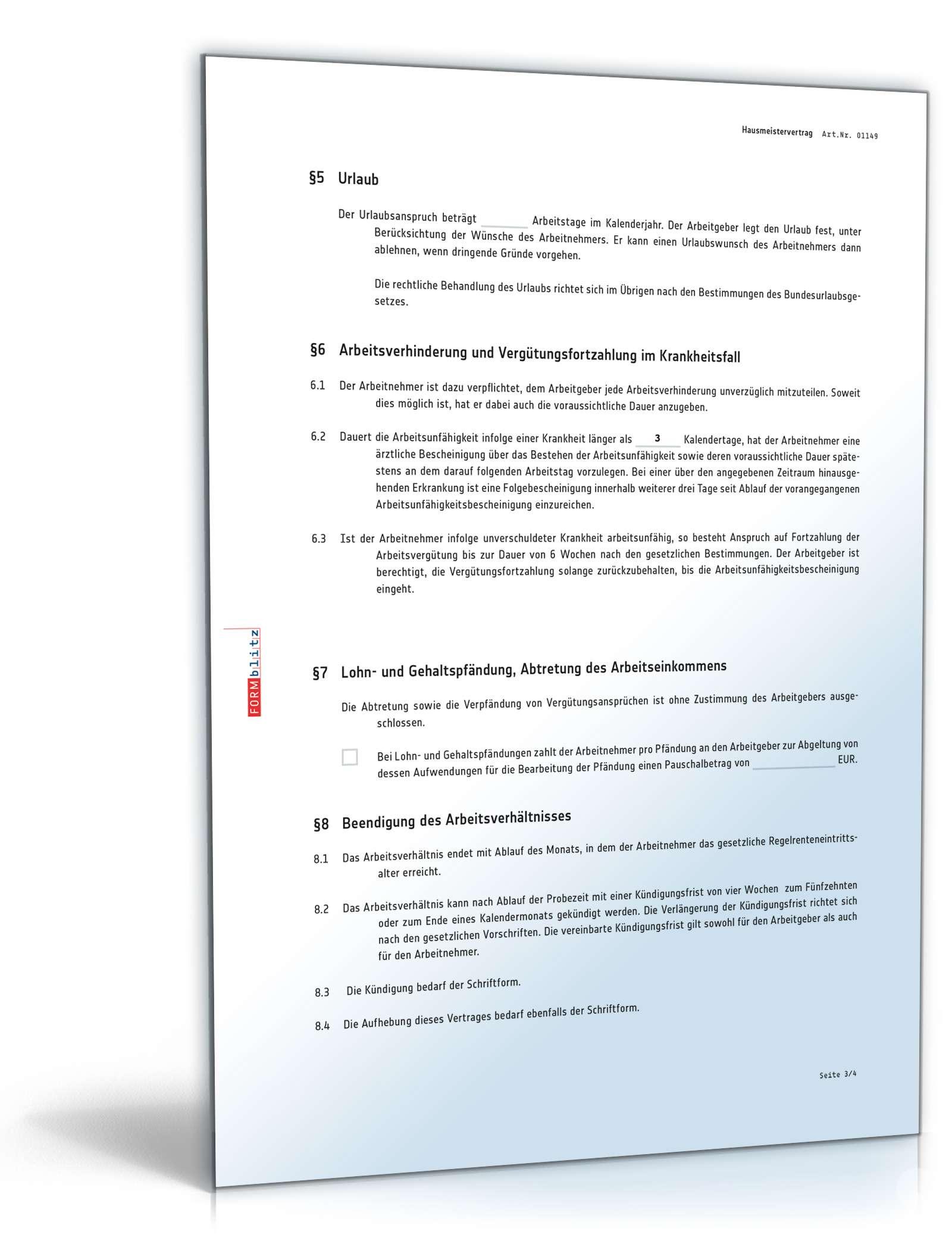 Hausmeistervertrag   Rechtssicheres Muster zum Download