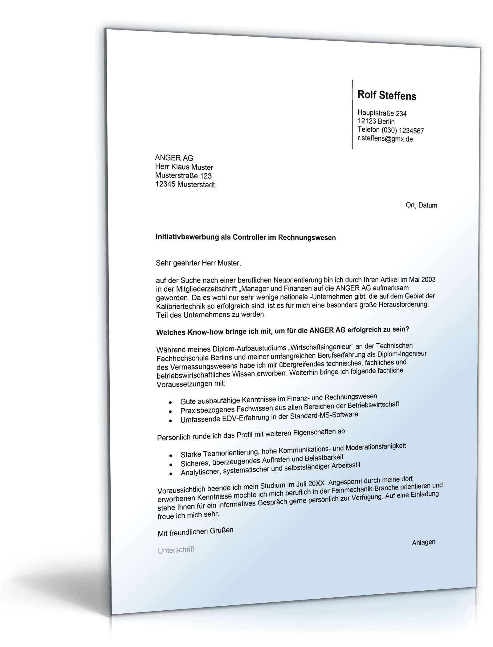 Charmant Dokument Controller Lebenslauf Anschreiben Galerie ...