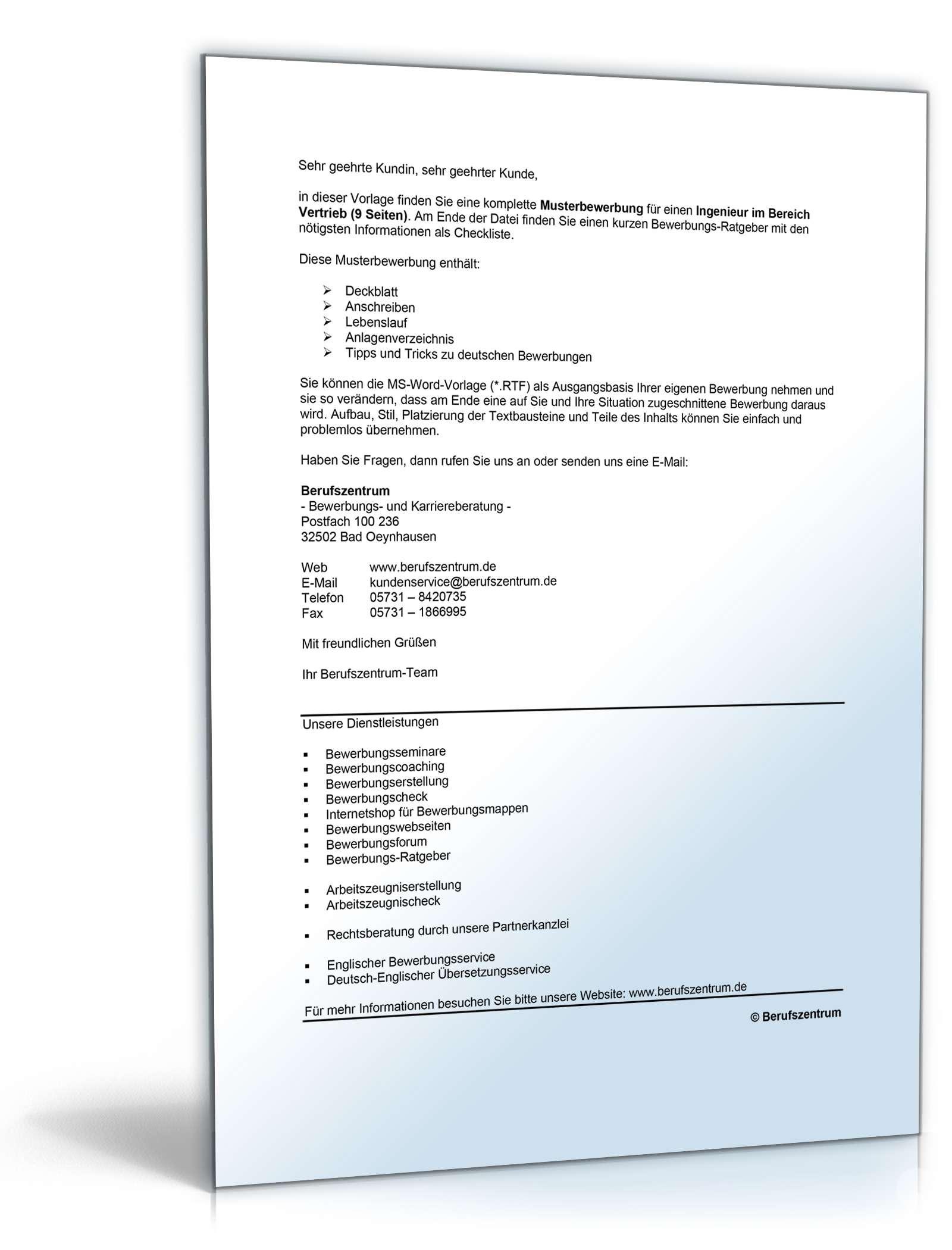Bewerbungs-Paket Wirtschaftsingenieur | Muster zum Download