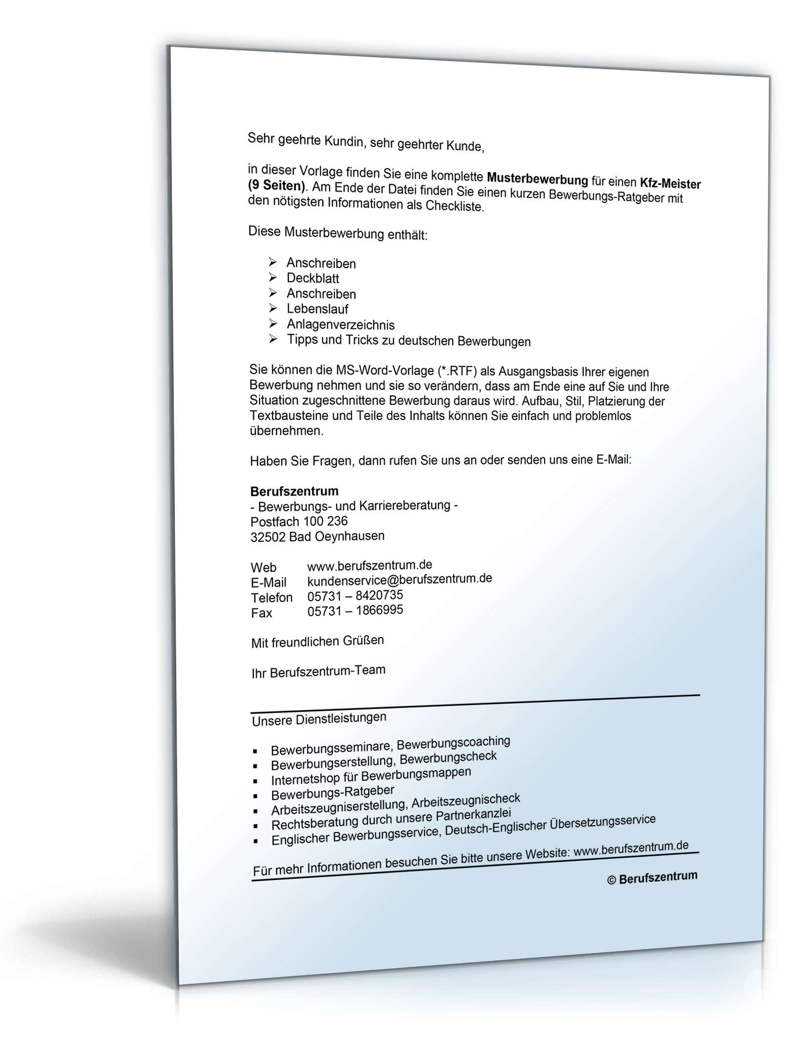 Bewerbungs-Paket Kfz-Meister | Muster zum Download