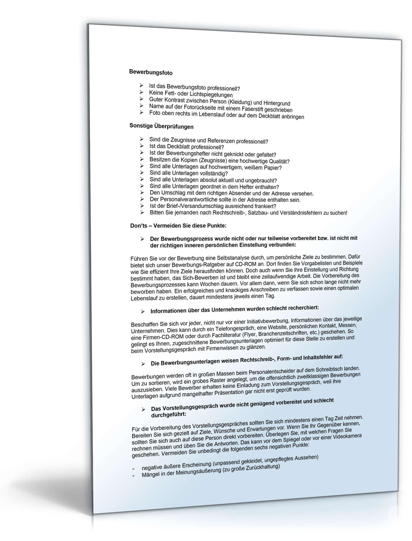 Bewerbungs-Mappe Krankenschwester | Muster zum Download