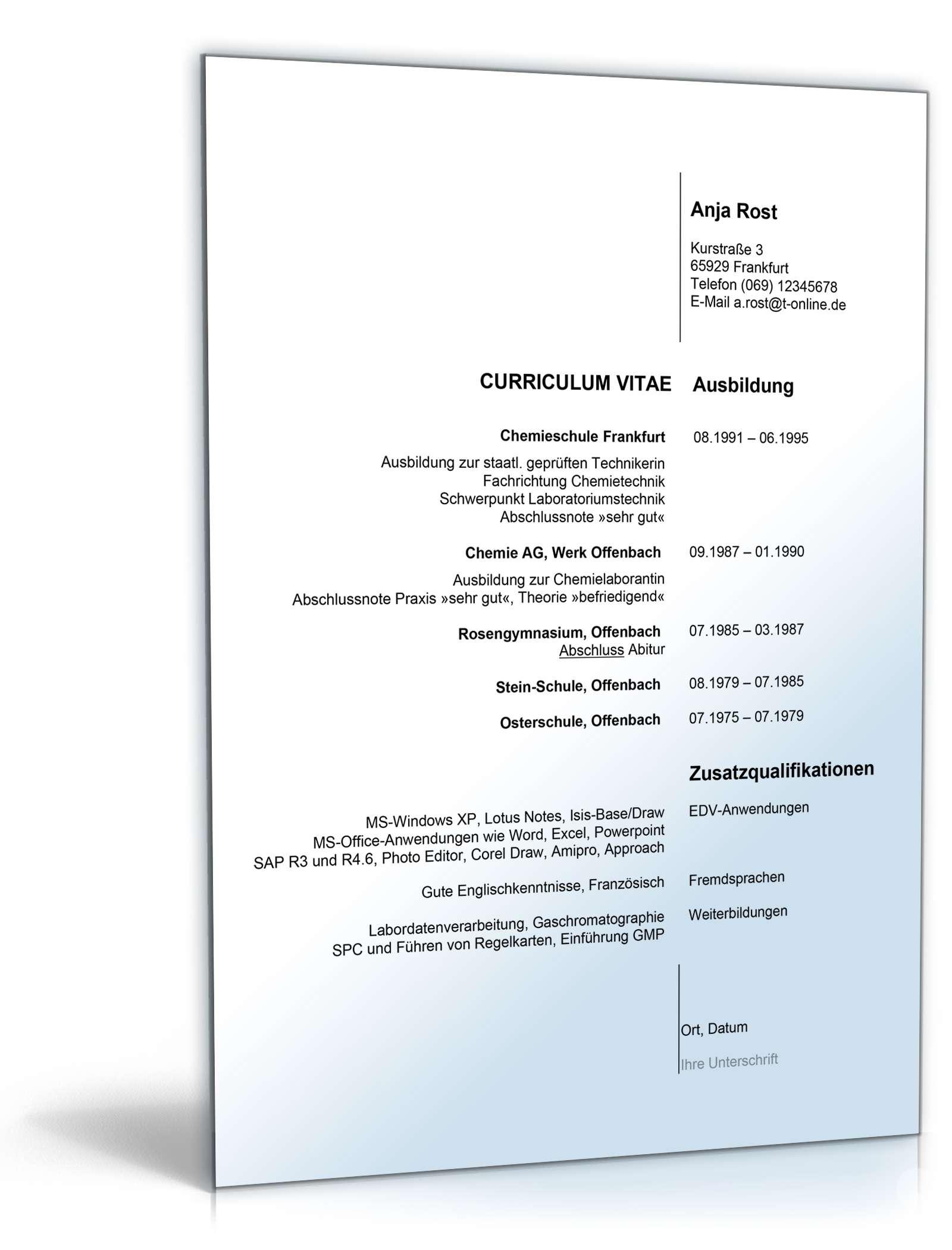 Fein Sehr Gute Lebenslaufvorlagen Ideen - Entry Level Resume ...