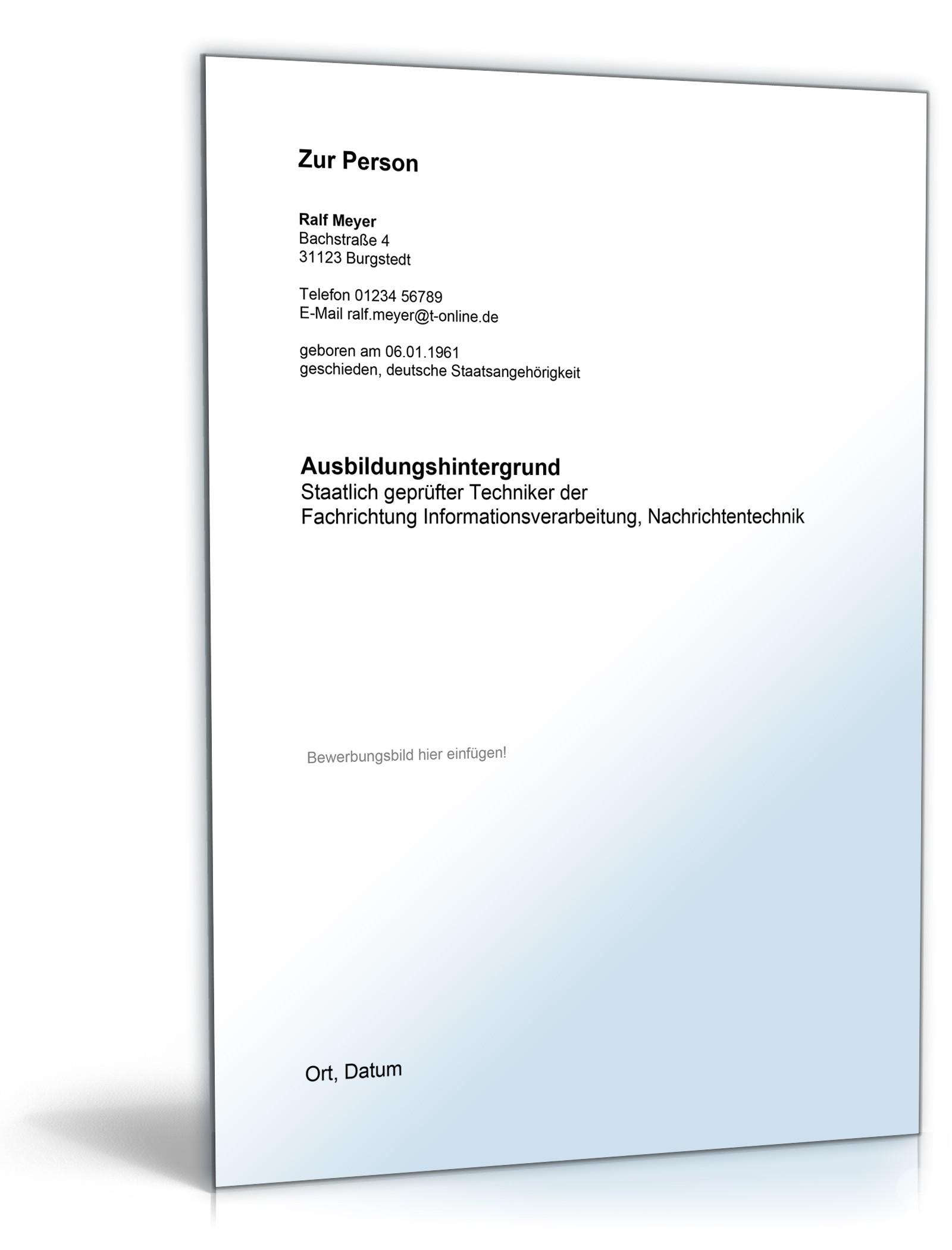 Groß Nachrichtentechnik Lebenslauf Ideen - Bilder für das Lebenslauf ...
