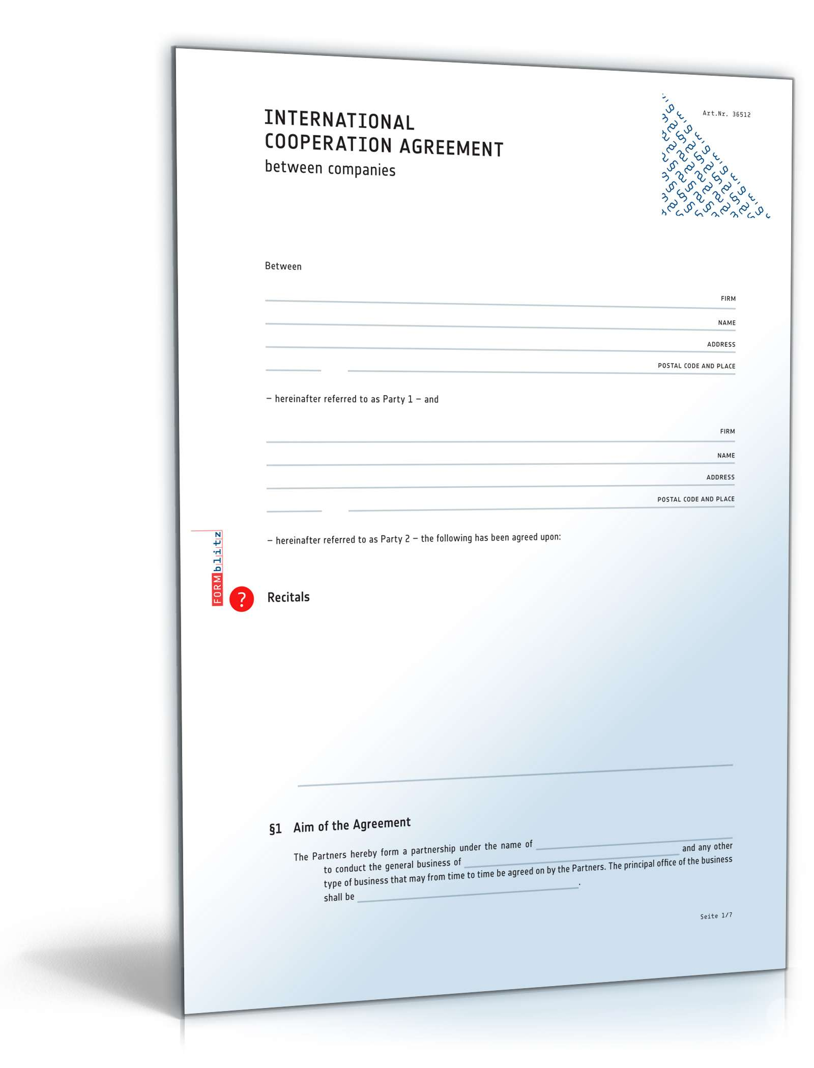 Internationaler Kooperationsvertrag Englisch