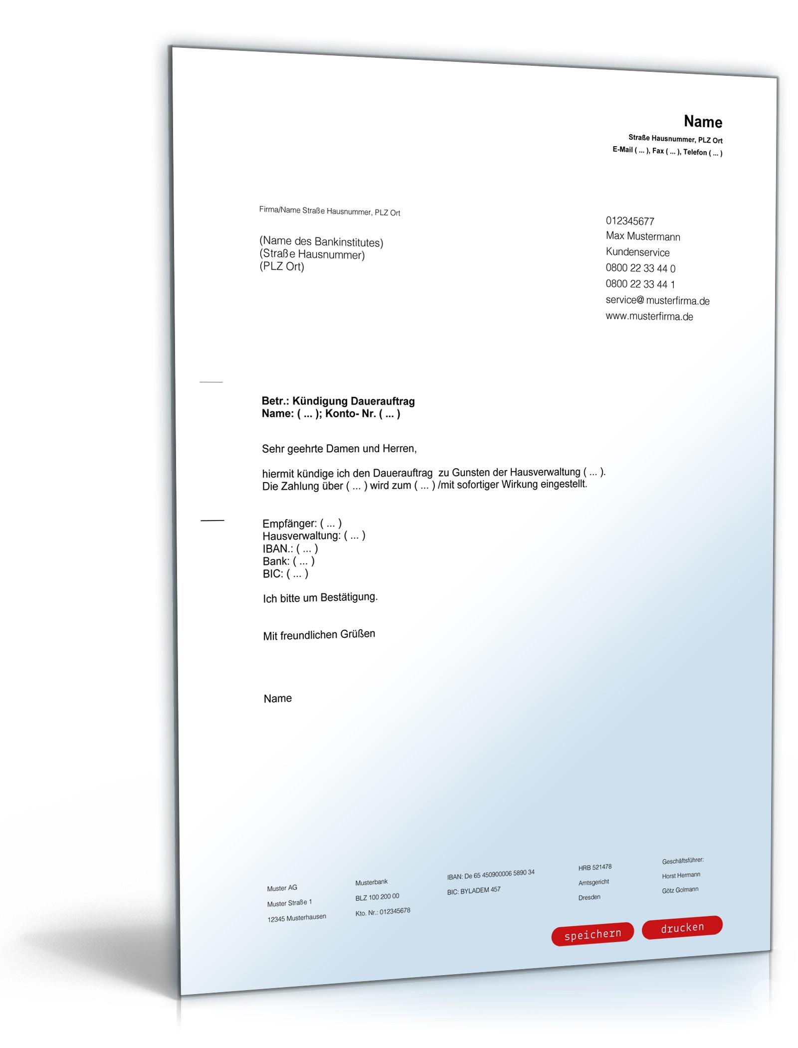 Kündigung Dauerauftrags Mietzahlungen Vorlage Zum Download