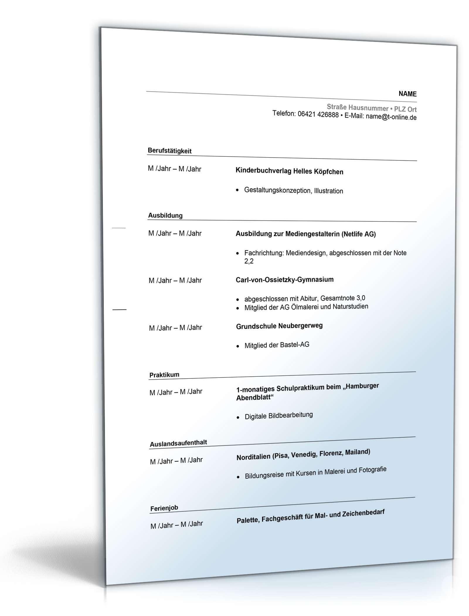 Charmant Keine Berufserfahrung Lebenslauf Für Abiturienten Bilder ...