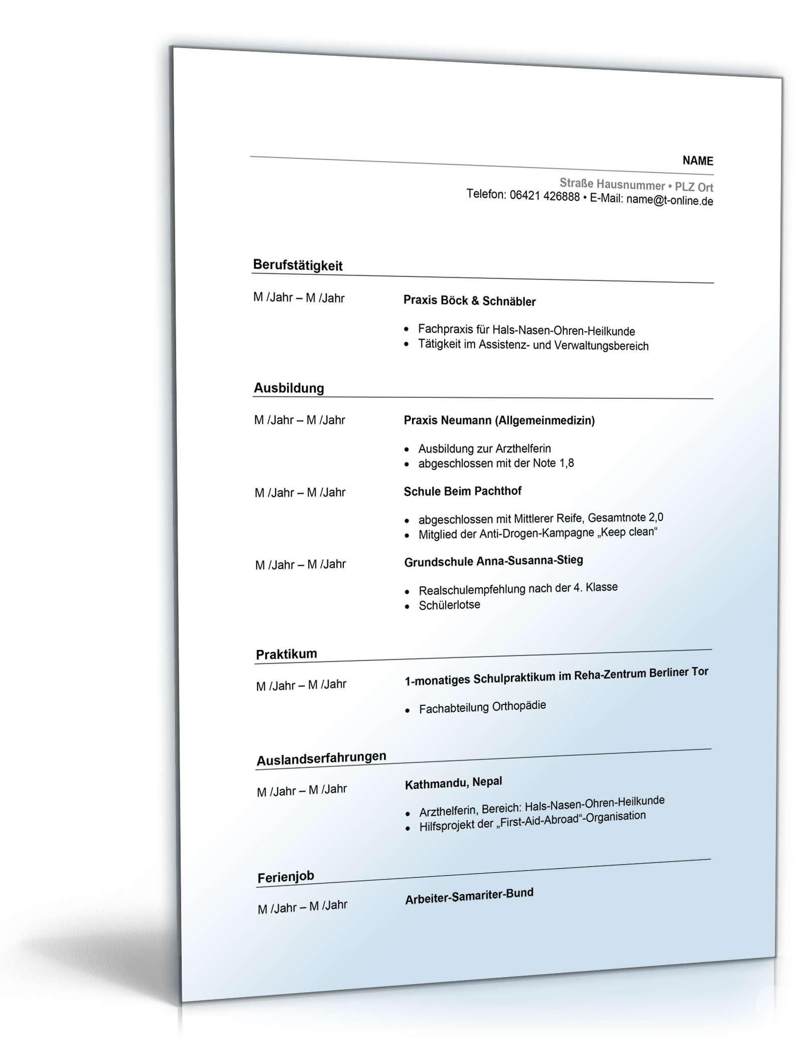 Beste Beispiel Lebenslauf Für Arzthelfer Job Bilder - Entry Level ...