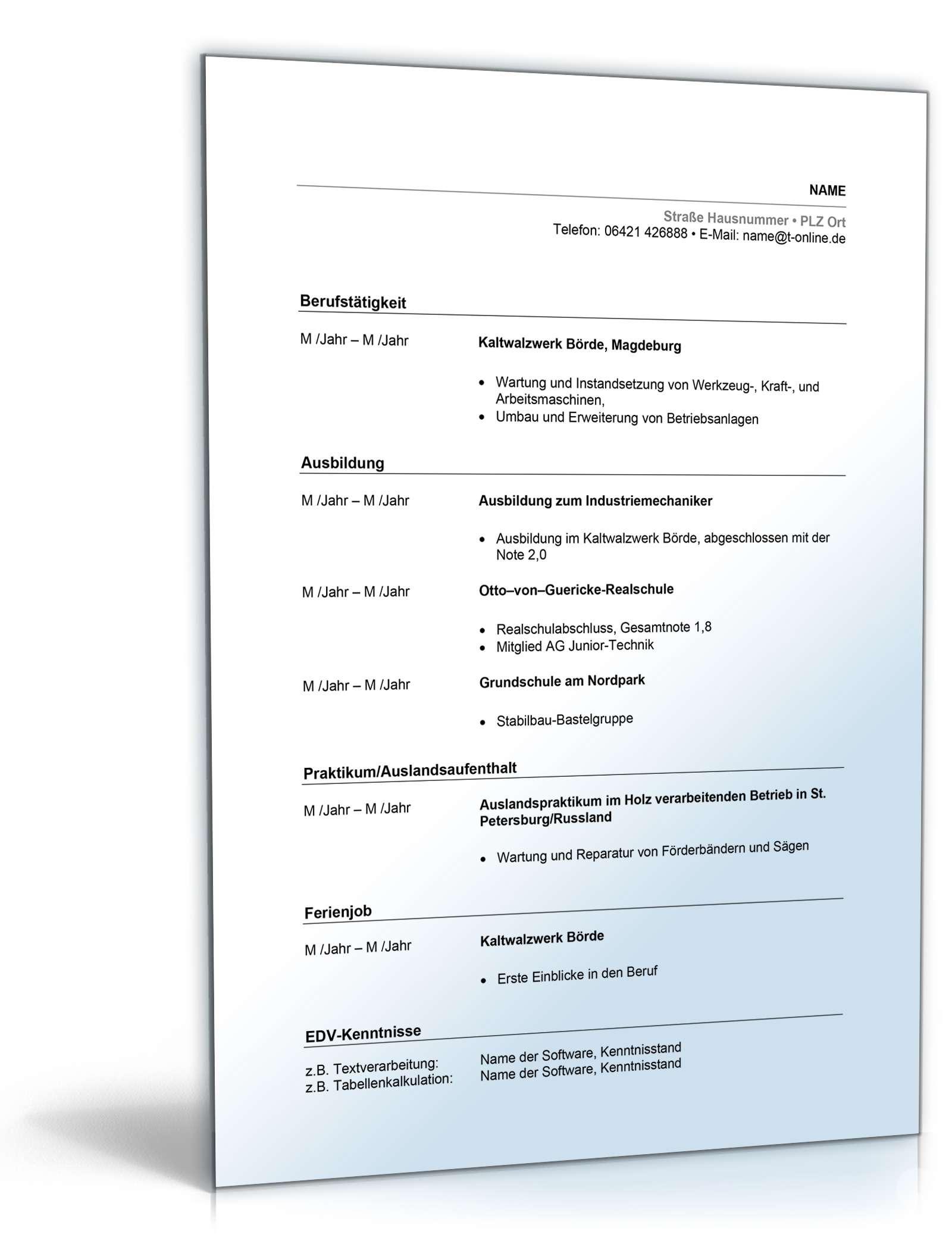Fantastisch Word Doc Lebenslauf Vorlage Freies Wort Dokument ...