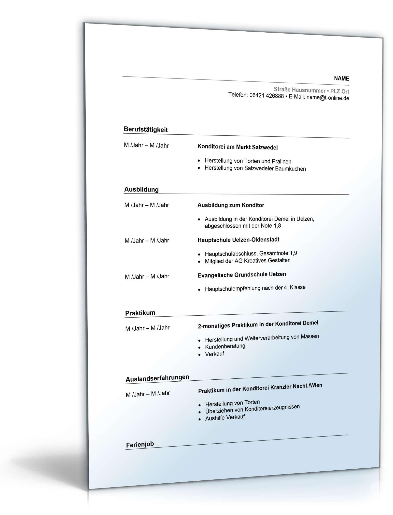 Lebenslauf Konditor | Muster zum Download