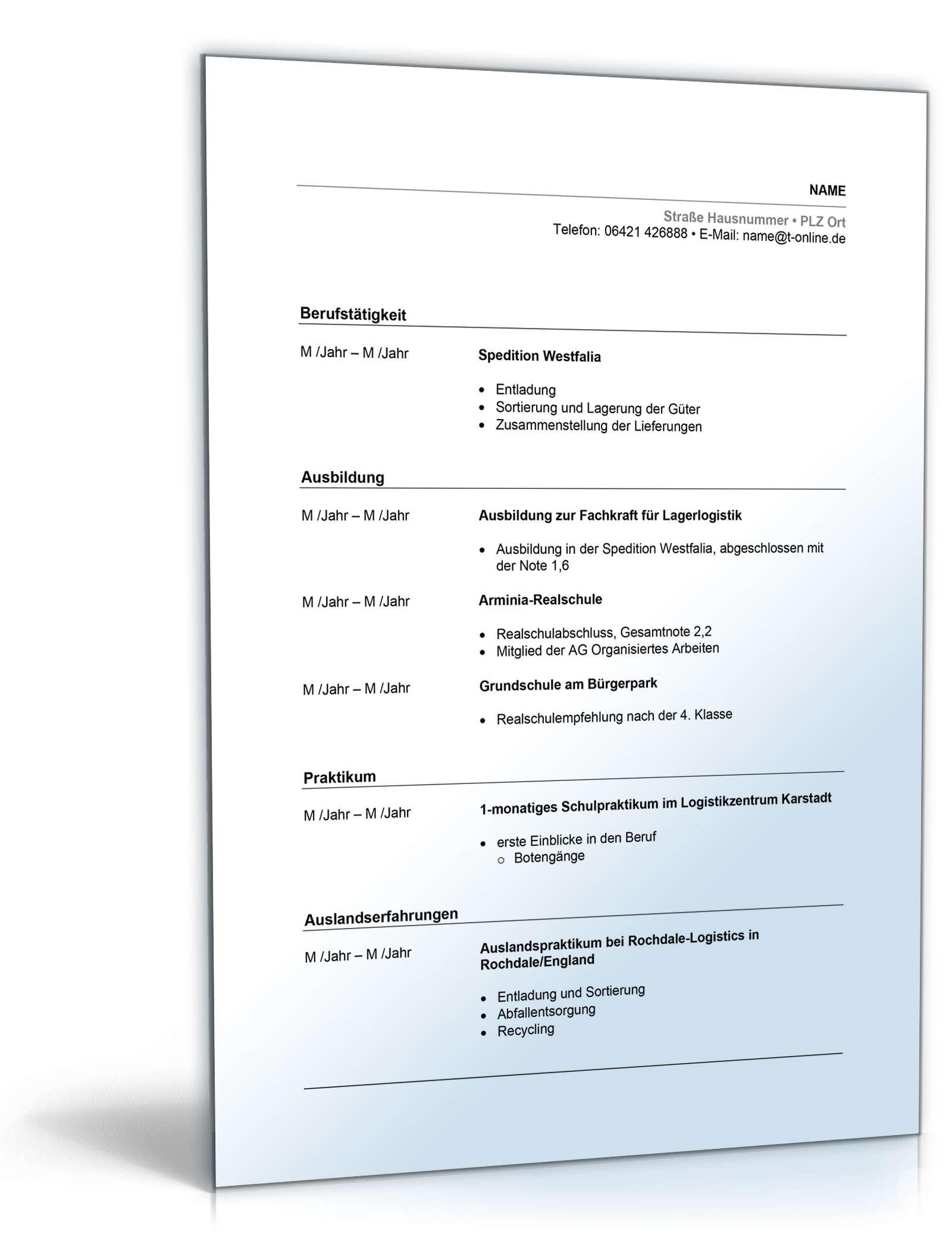 Lebenslauf Lagerlogistik | Muster zum Download