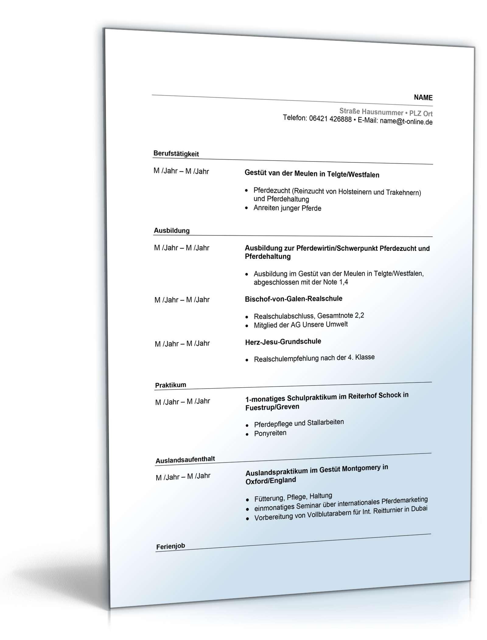 Nett Beispiel Lebenslauf Für Frisch Diplom Ohne Erfahrung Pdf Fotos ...