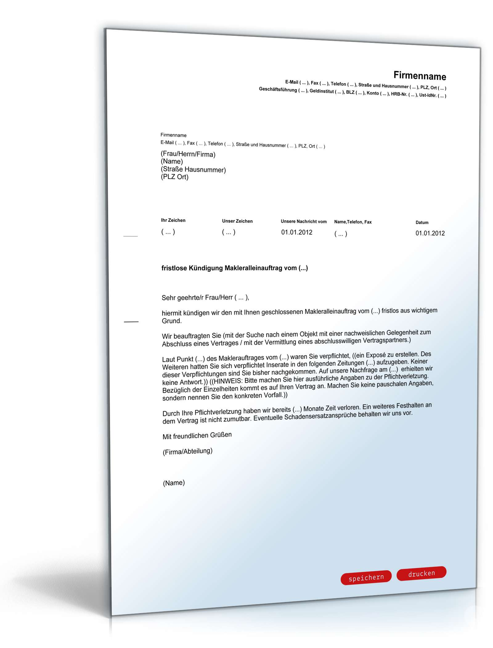 Fristlose Kündigung Makleralleinauftrag | Muster zum Download