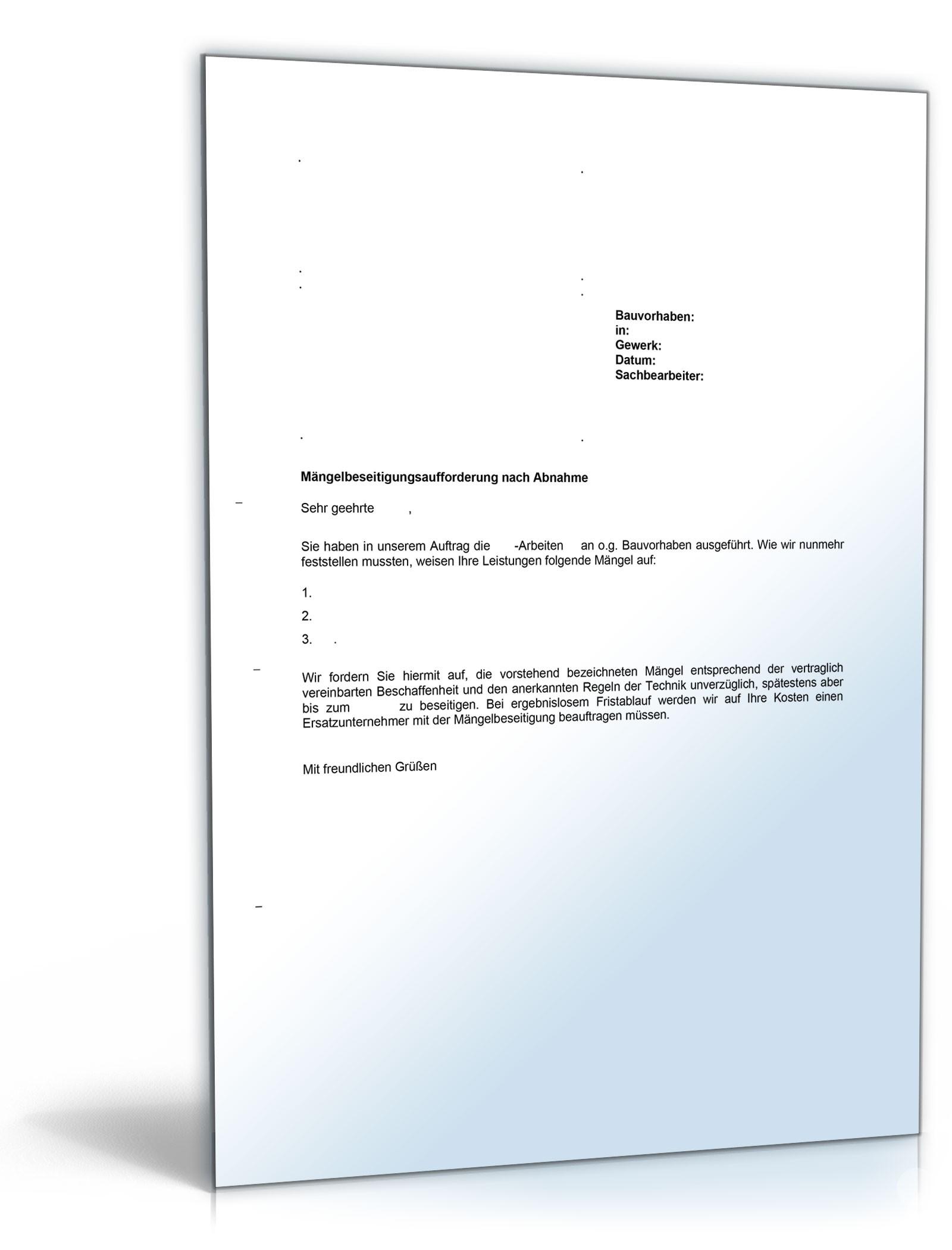 musterbrief vob maengelbeseitigungsaufforderung nach abnahme