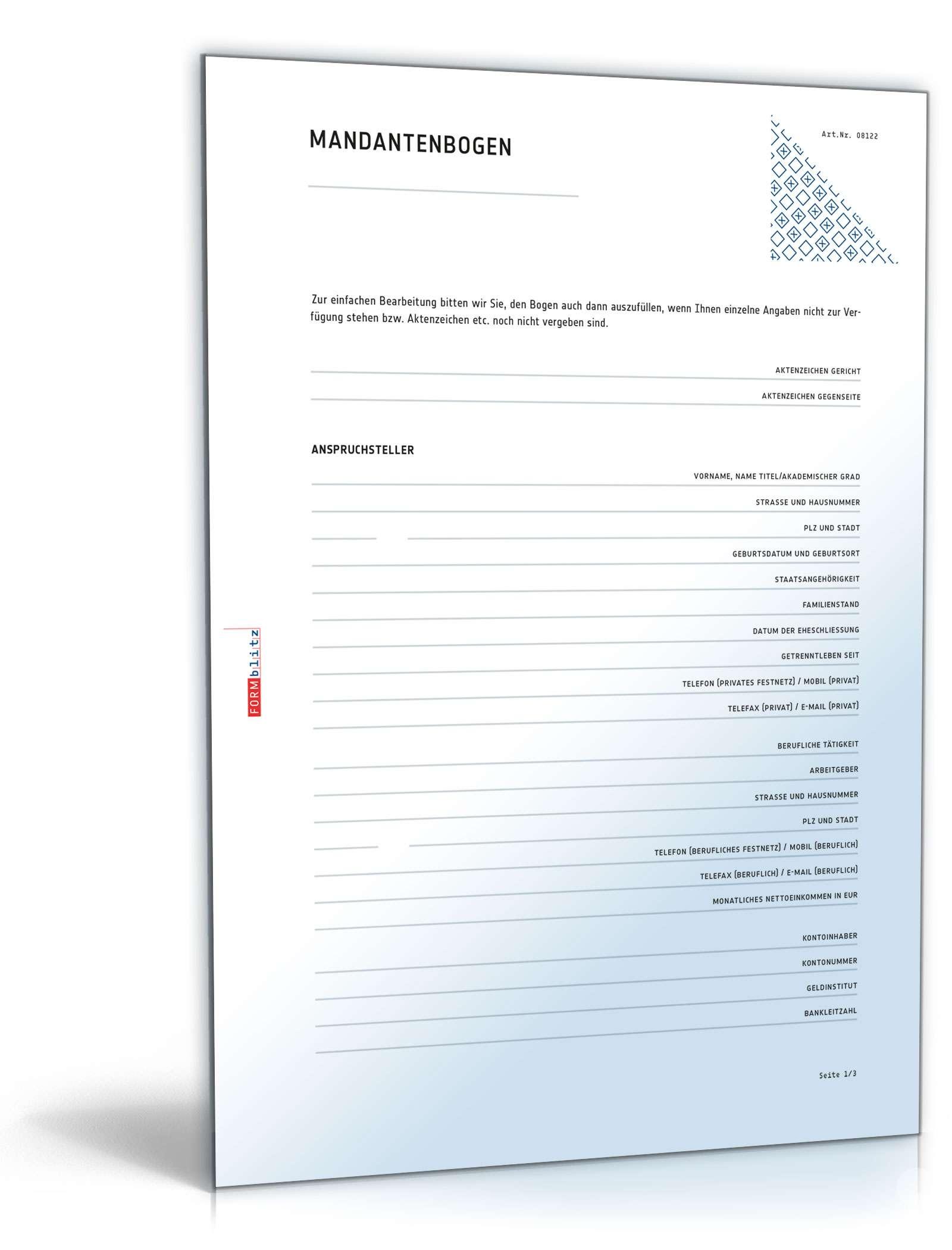 Mandantenbogen für Ehe- und Familiensachen Dokument zum Download