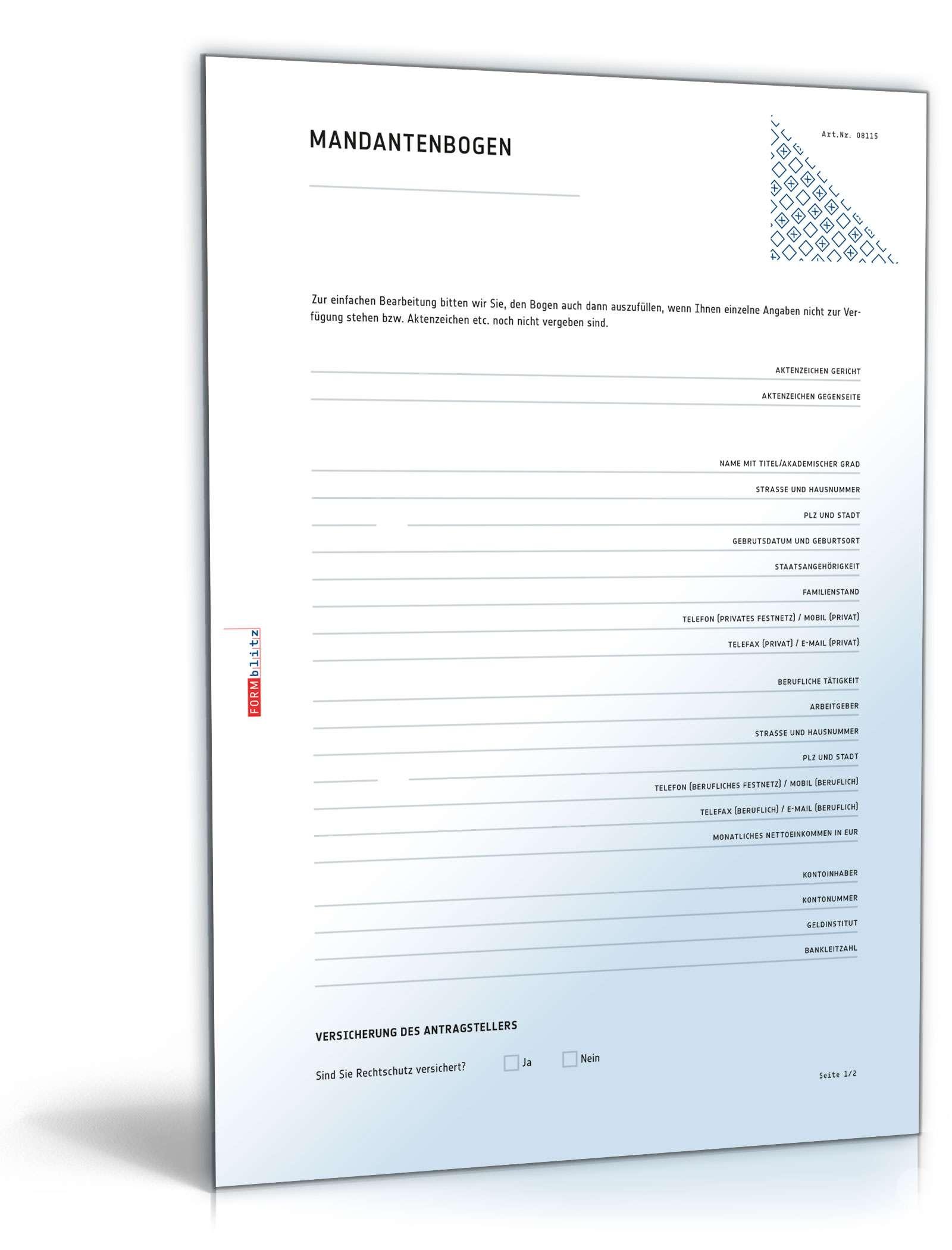 Mandantenbogen (natürliche Person) Dokument zum Download