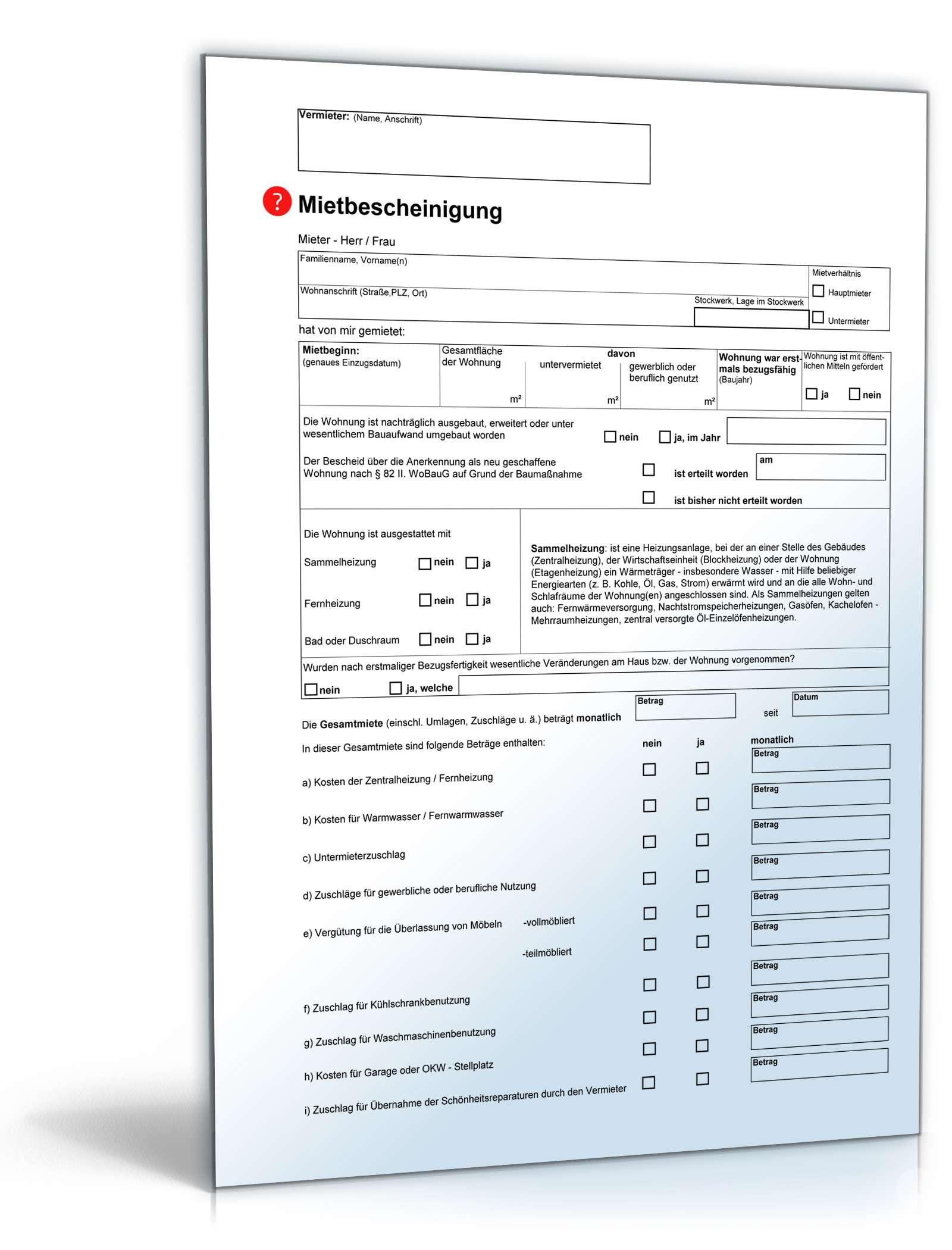 Mietbescheinigung Anwaltsgeprüftes Muster Zum Download
