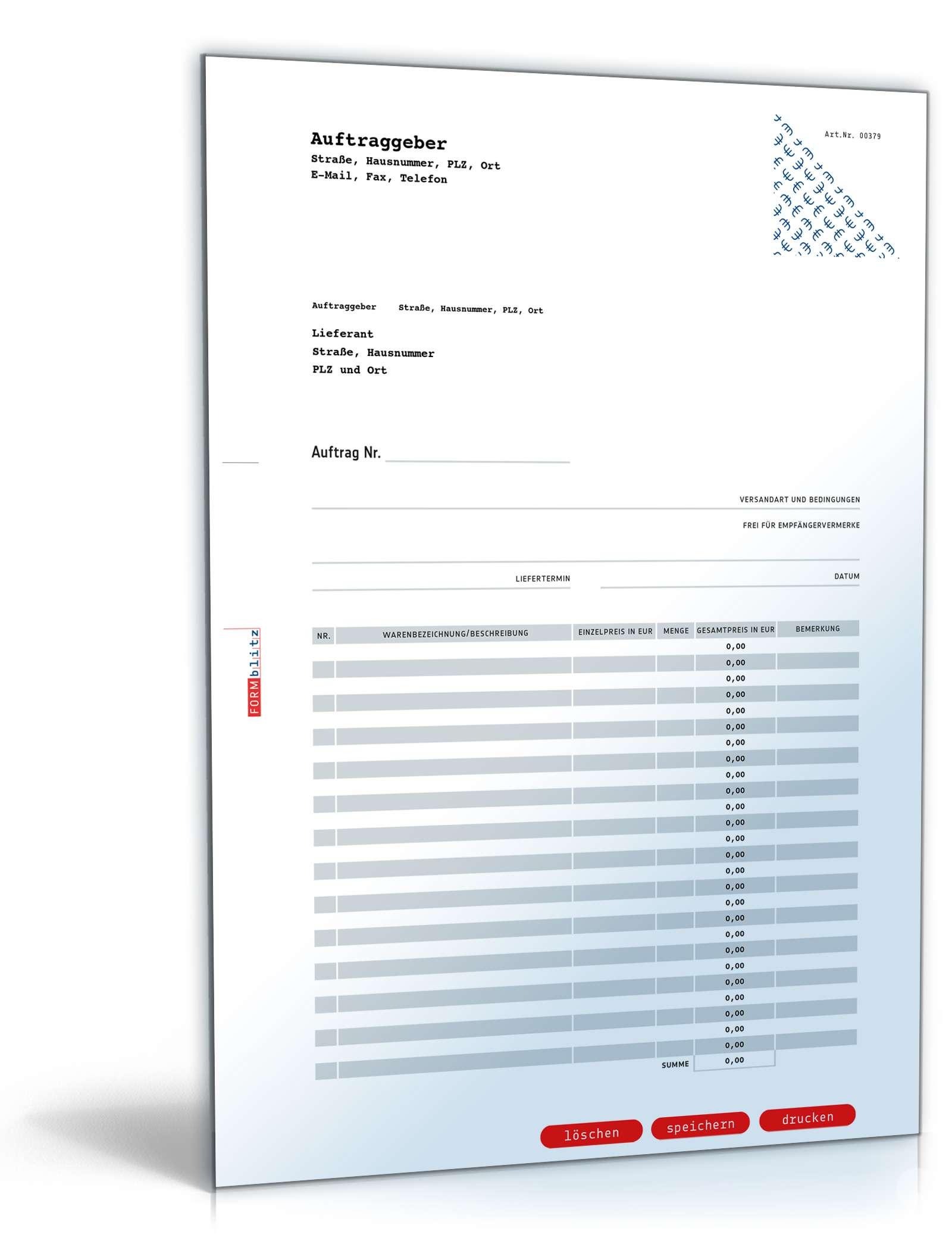 Bestellformular | Muster zum Download