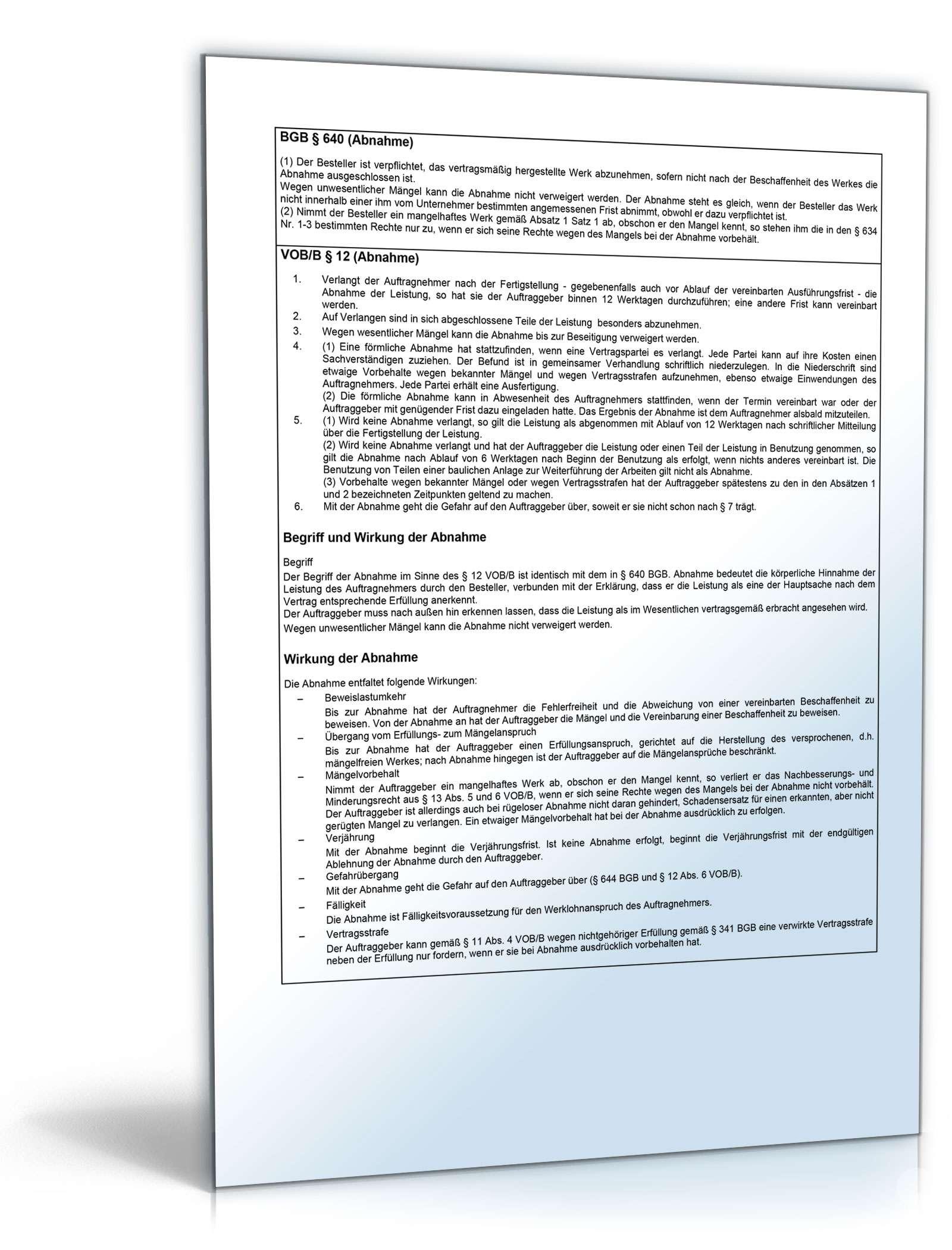 Rechtsverbindliche Bauabnahme Vorlage Zum Download