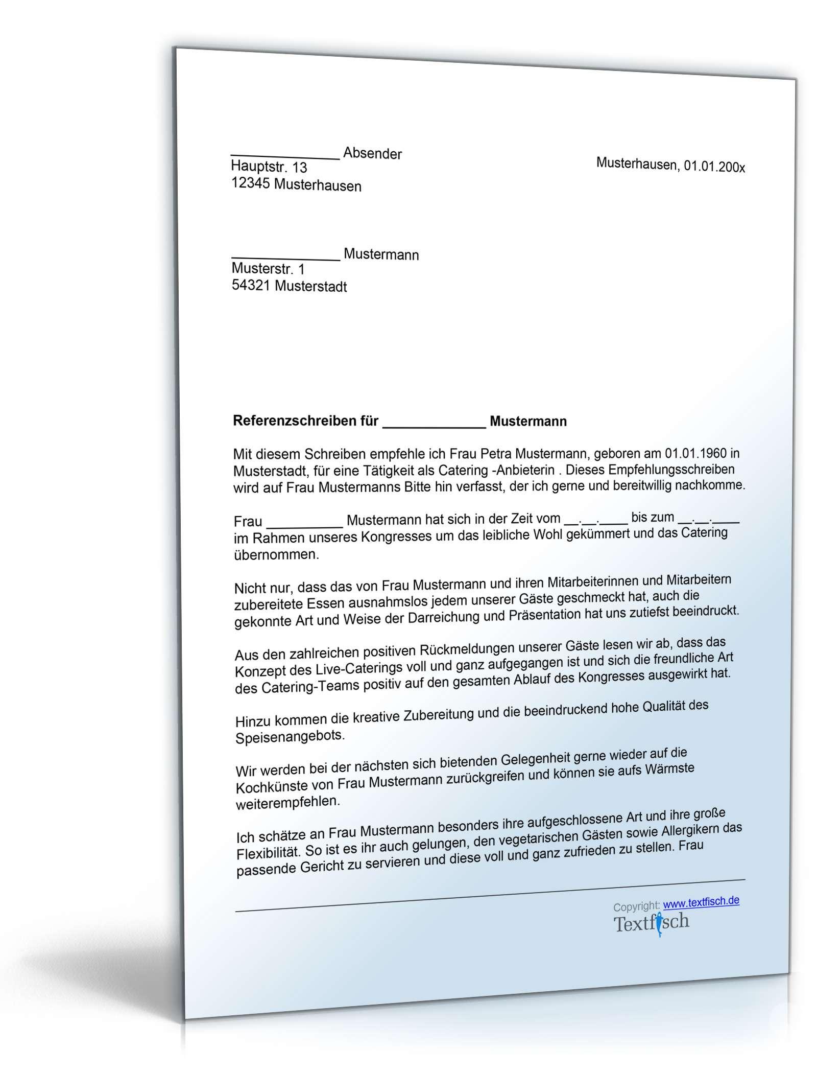 Referenzschreiben für ein Catering - Musterbrief zum Download