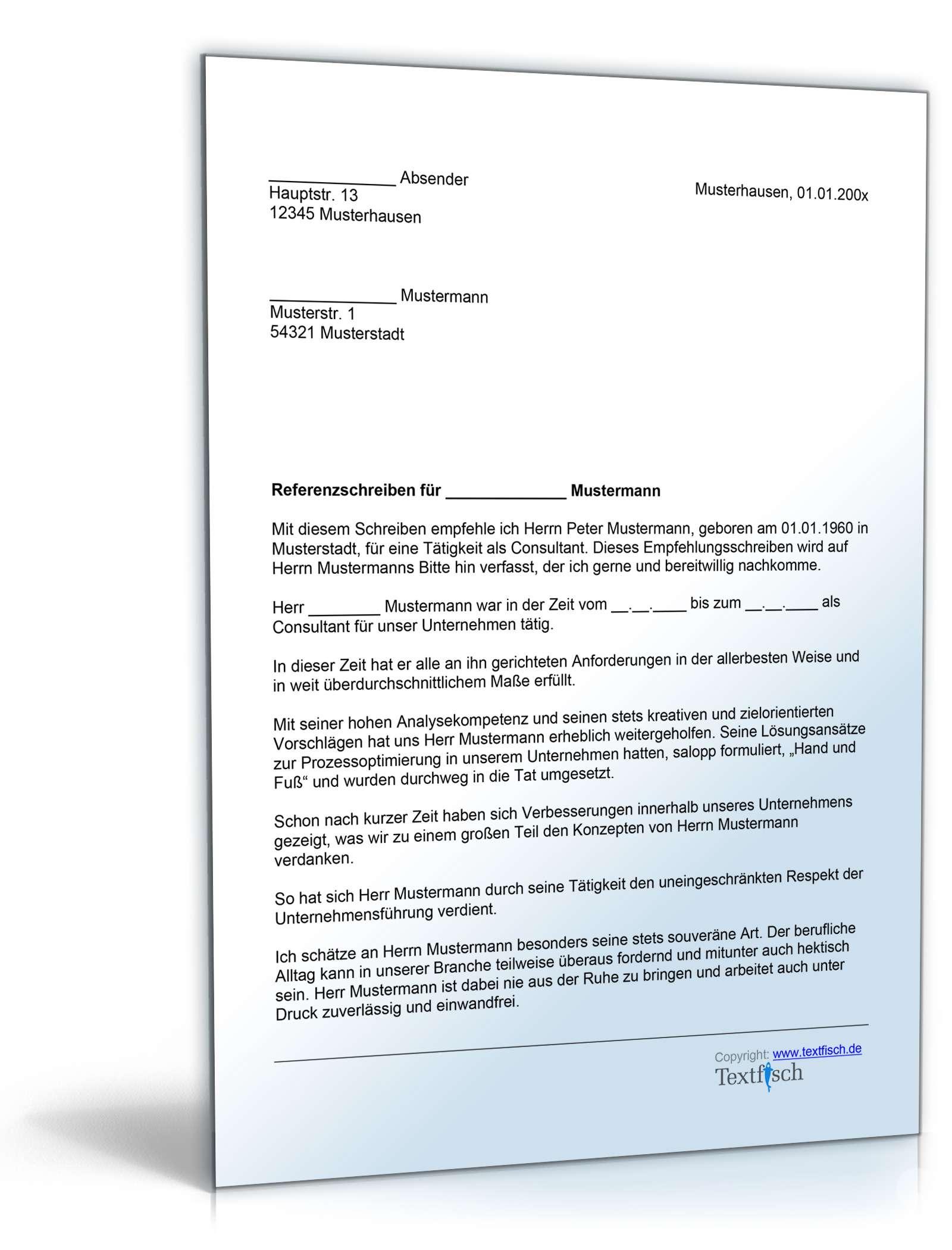Referenzschreiben für einen Consultant - Musterbrief zum Download