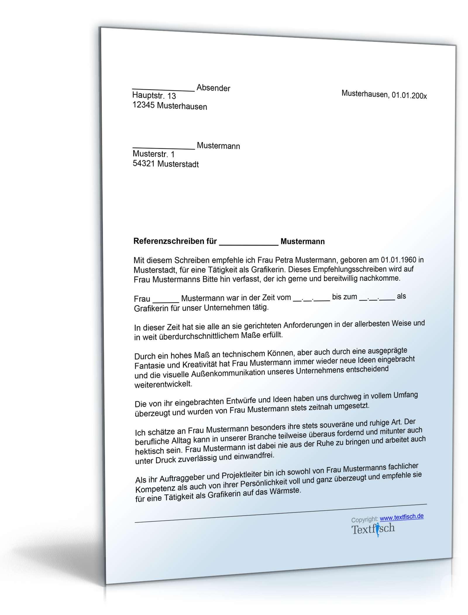 Referenzschreiben Grafikerin | Muster zum Download