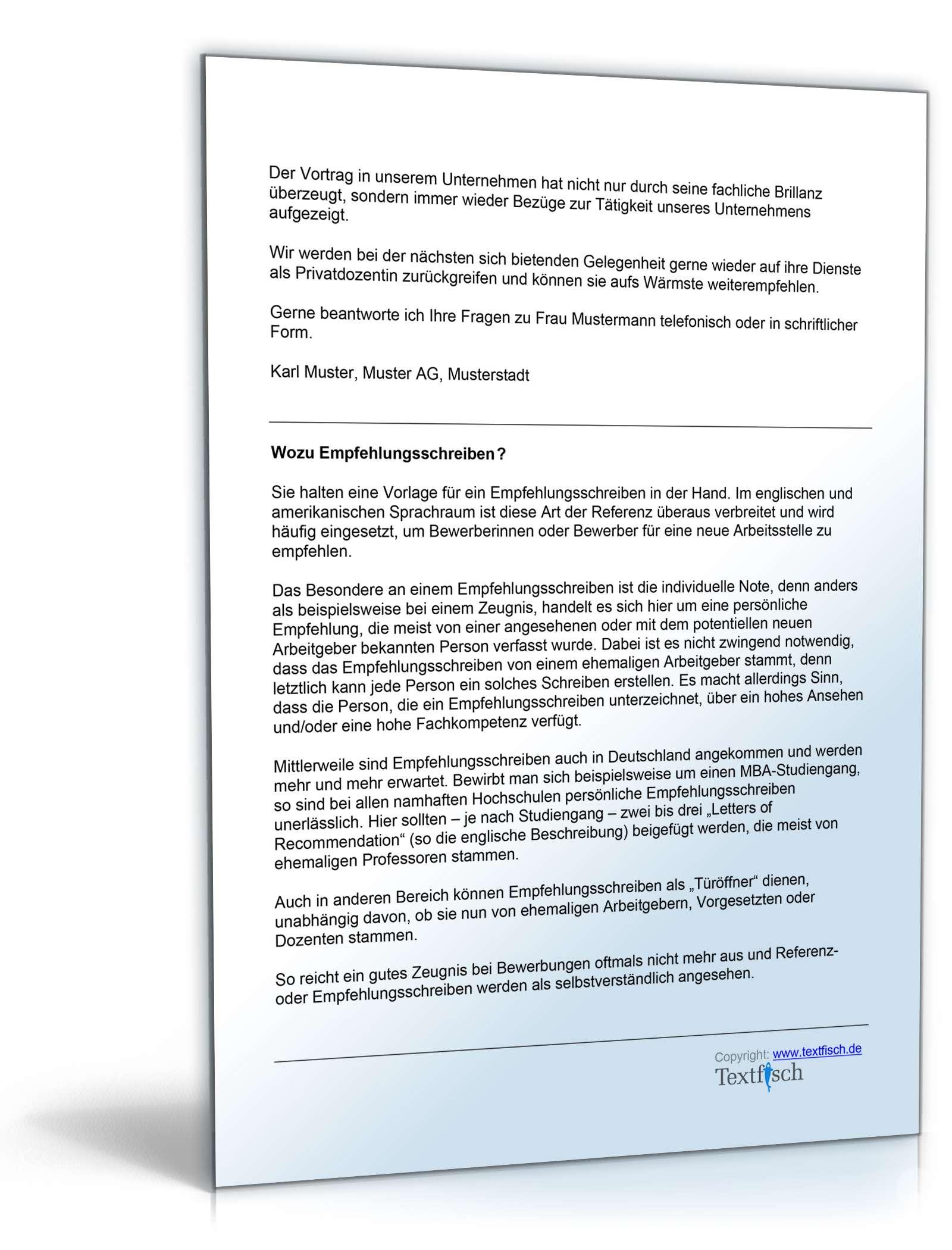 Referenzschreiben Privatdozent | Muster zum Download
