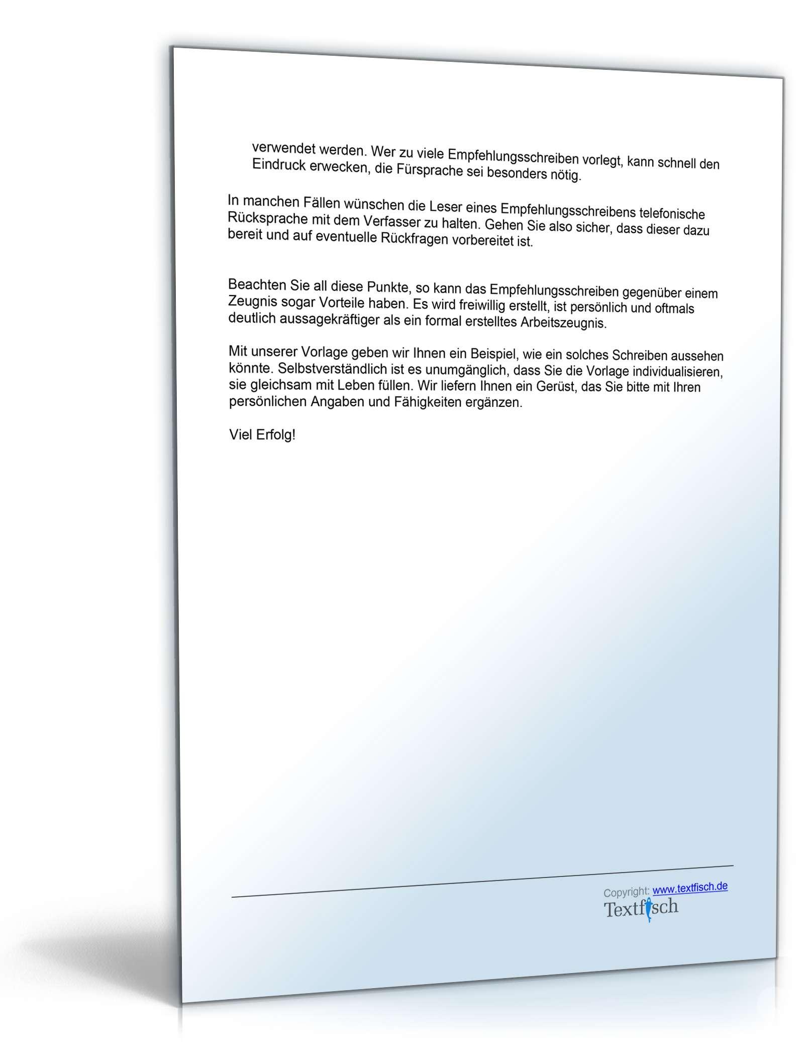 Referenzschreiben für einen Texter - Musterbrief zum Download