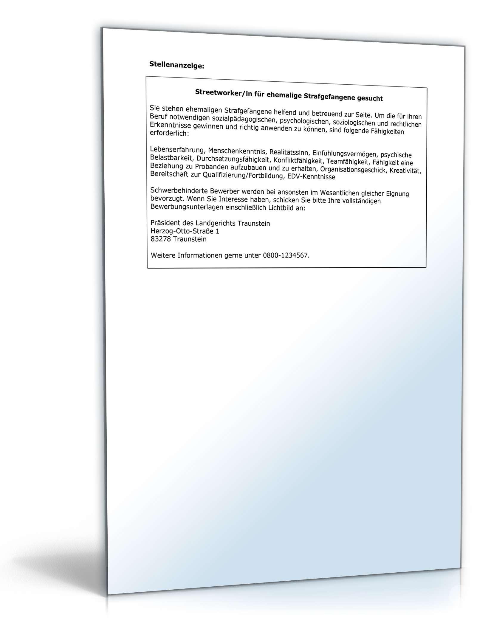 Bewerbungs-Paket Streetworker | Muster zum Download