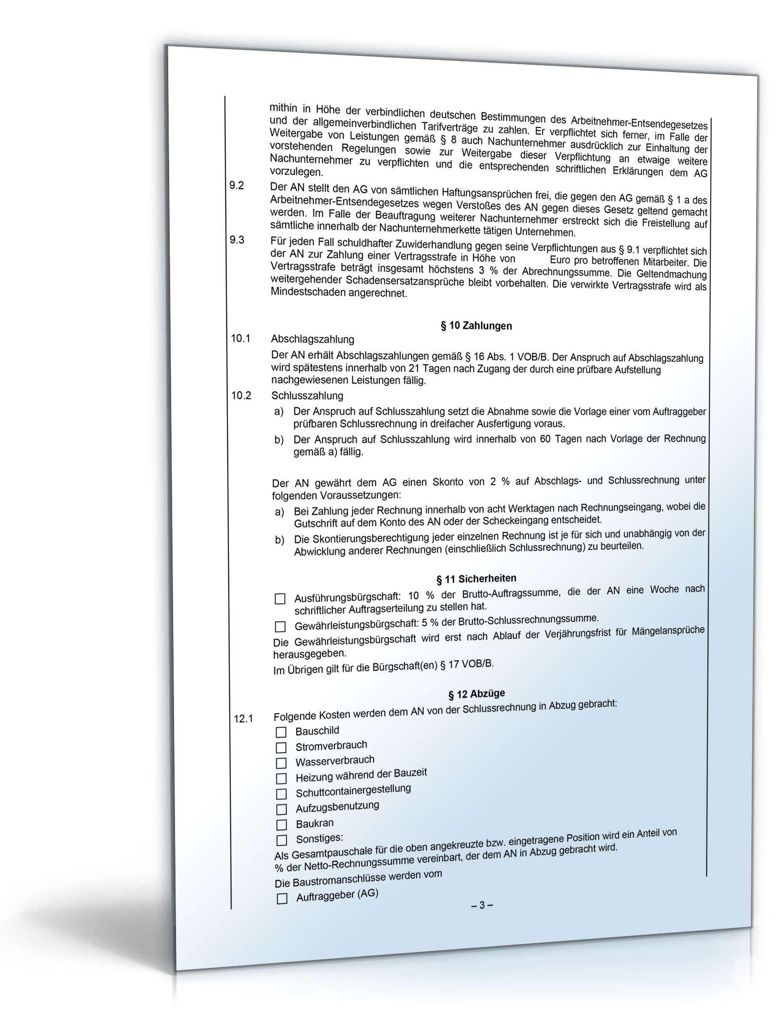 Subunternehmervertrag Weka Fachverlag Vorlage Zum Download