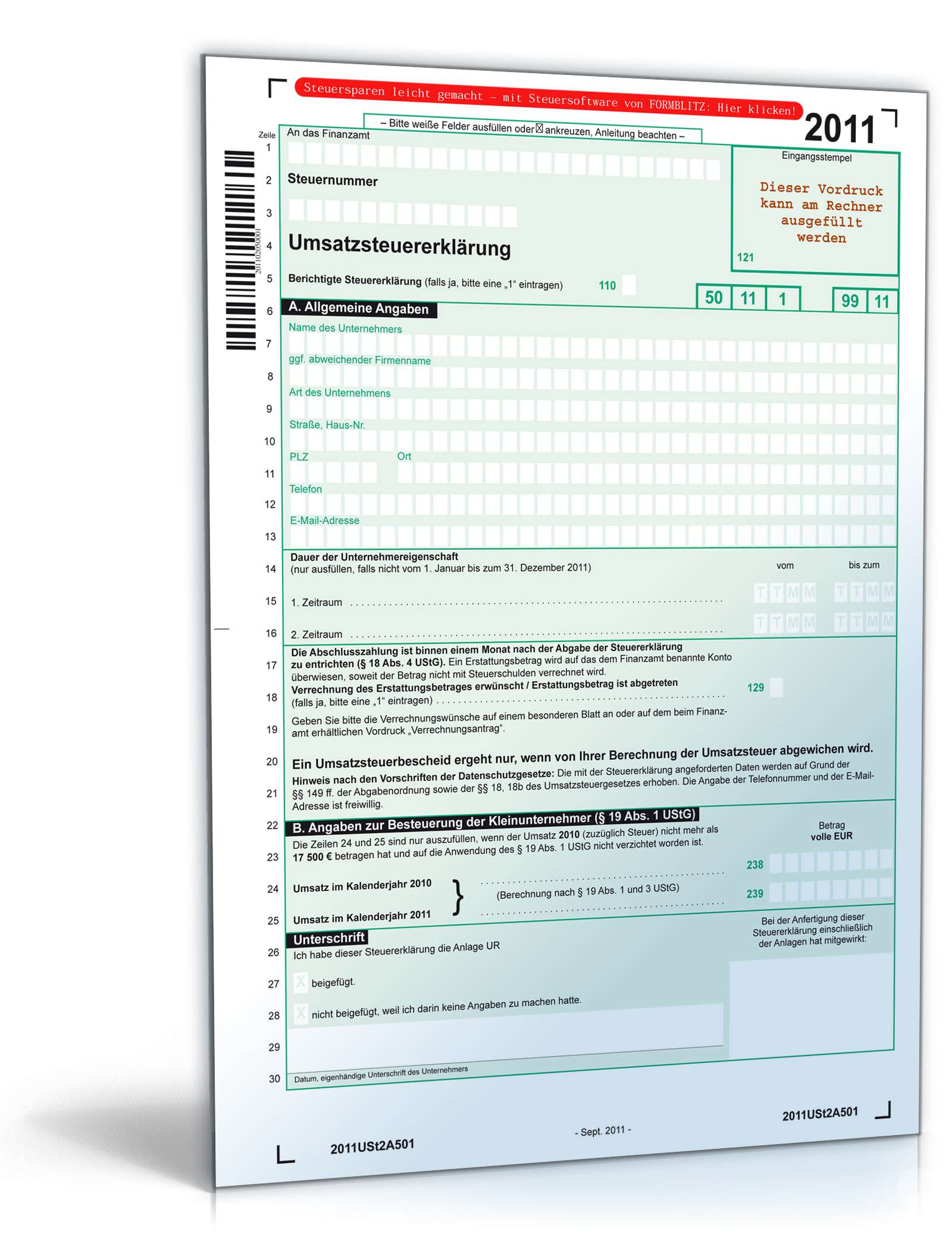 Umsatzsteuererklärung 2011 Dokument zum Download